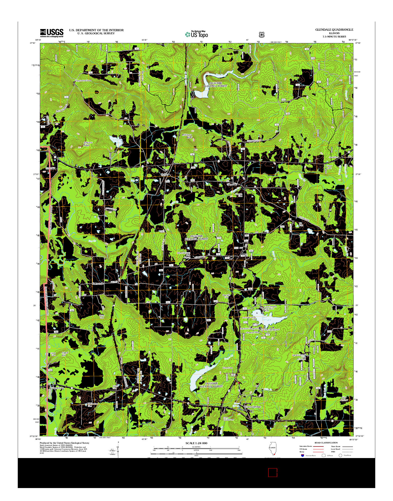 USGS US TOPO 7.5-MINUTE MAP FOR GLENDALE, IL 2012