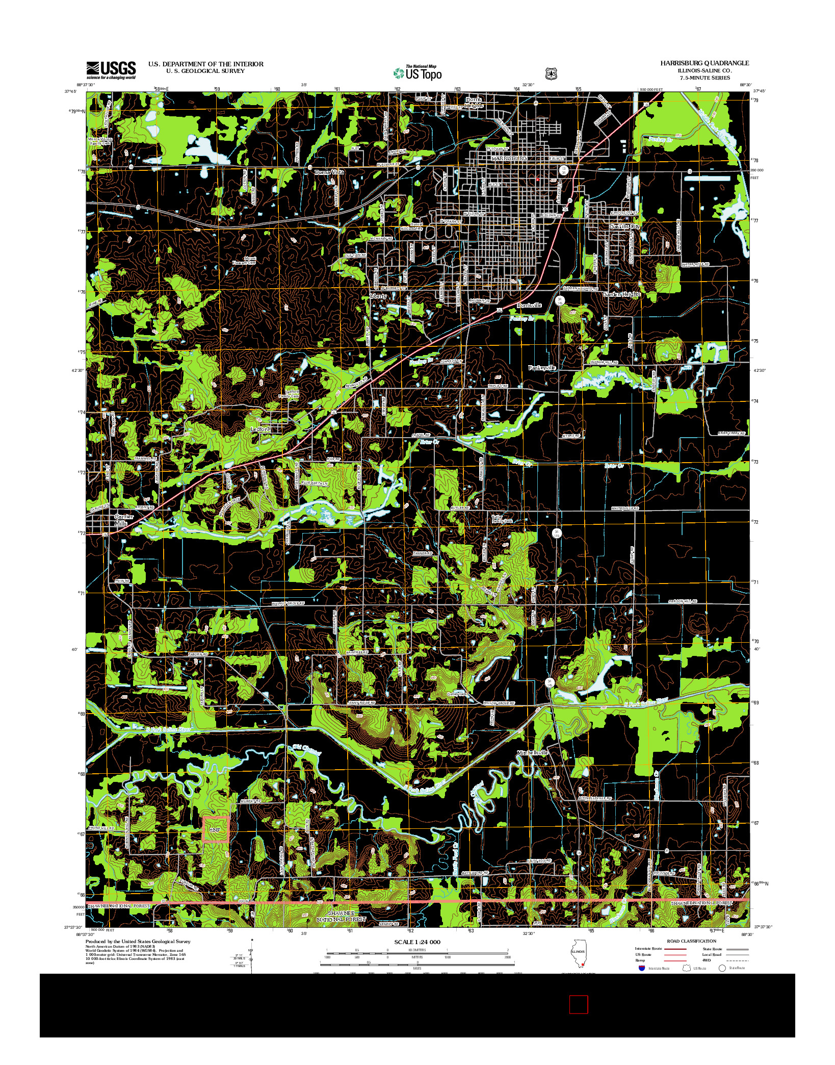 USGS US TOPO 7.5-MINUTE MAP FOR HARRISBURG, IL 2012