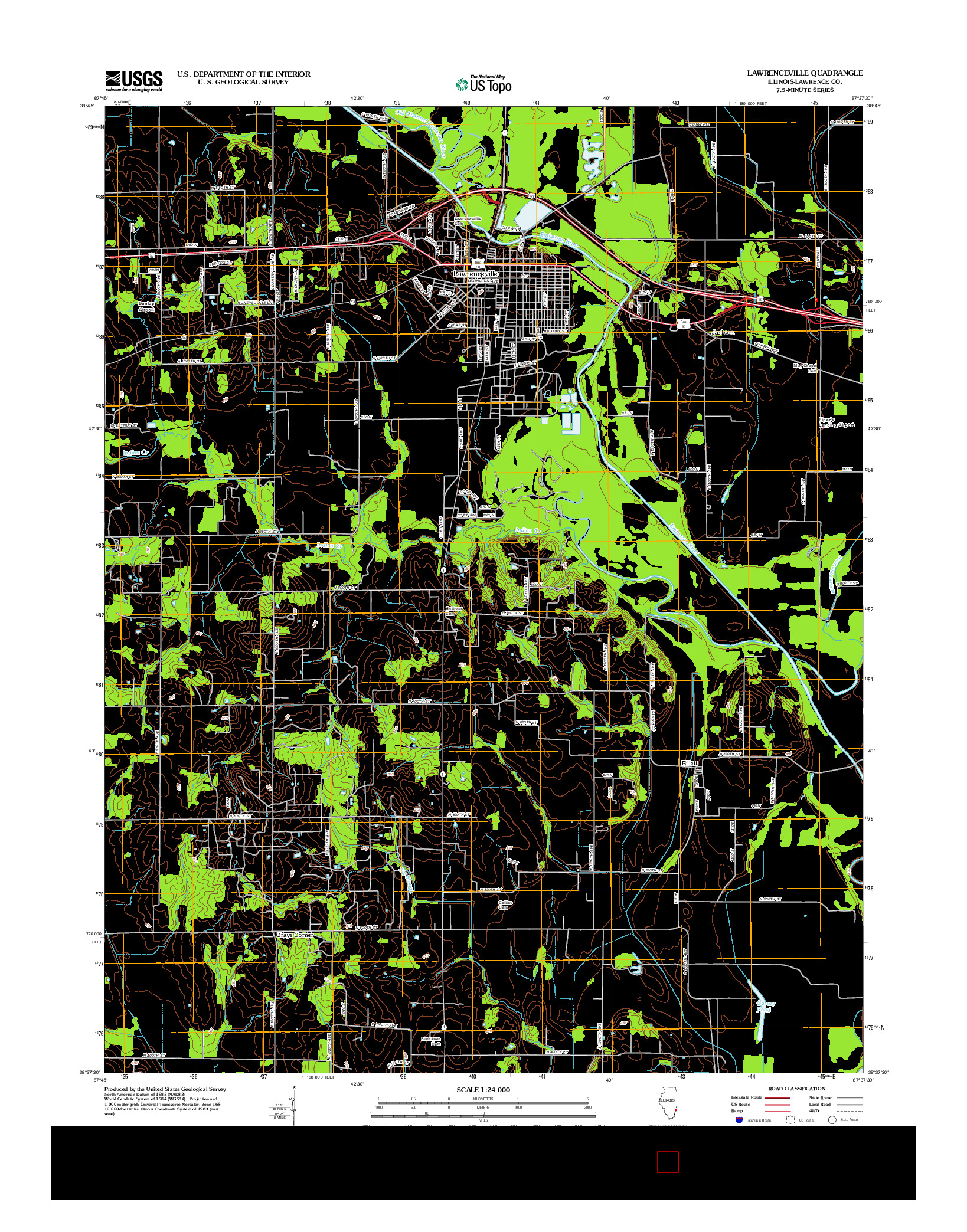 USGS US TOPO 7.5-MINUTE MAP FOR LAWRENCEVILLE, IL 2012