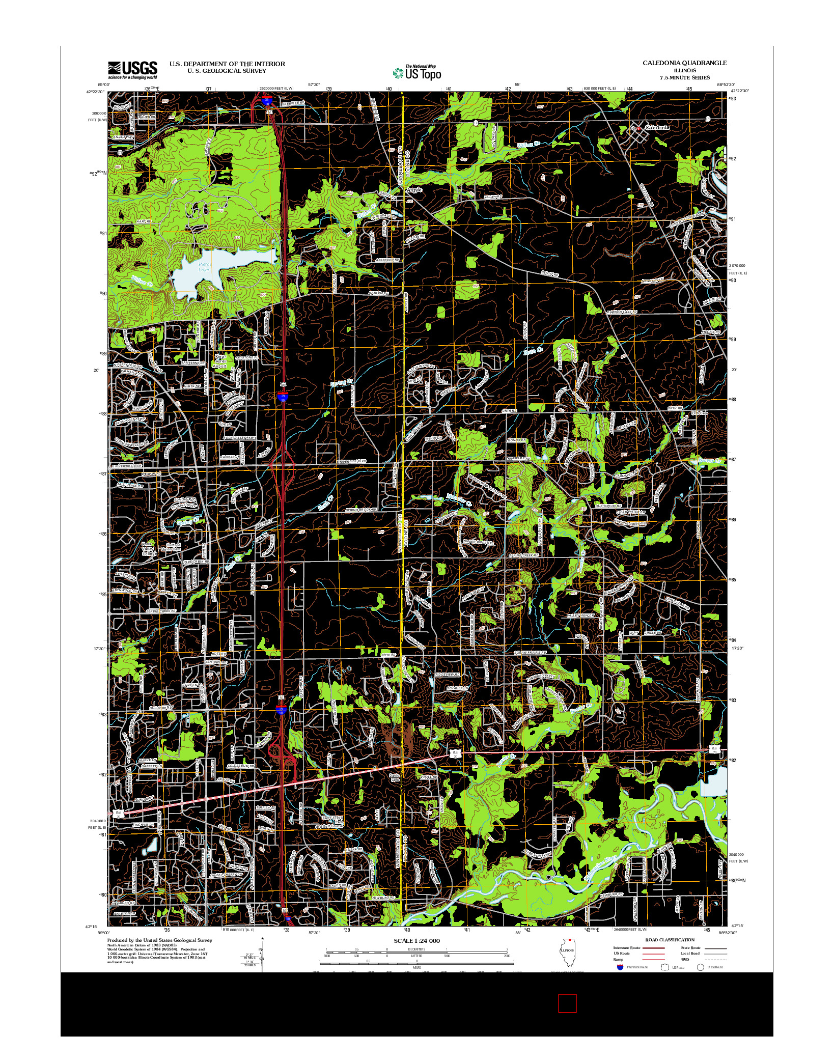 USGS US TOPO 7.5-MINUTE MAP FOR CALEDONIA, IL 2012