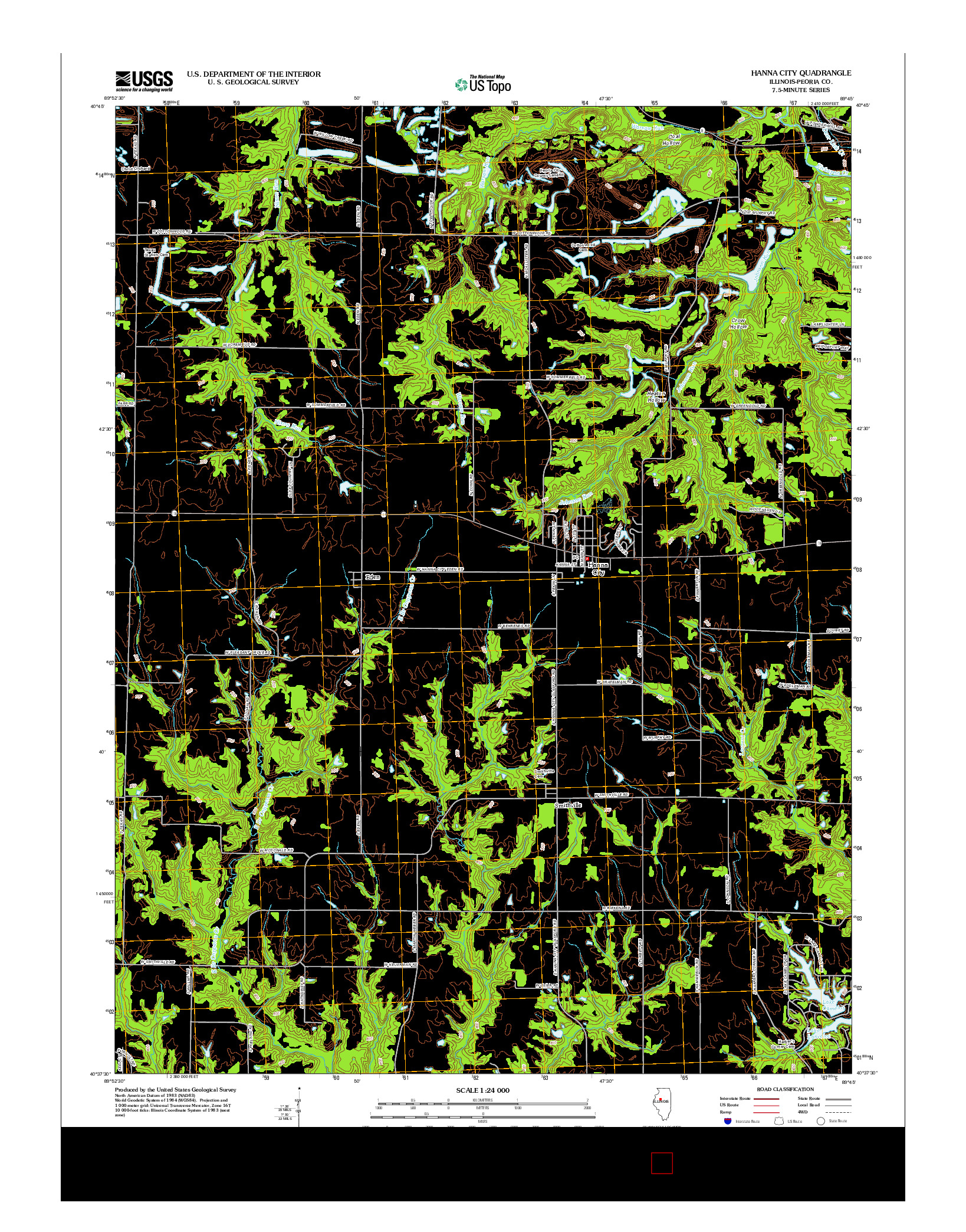 USGS US TOPO 7.5-MINUTE MAP FOR HANNA CITY, IL 2012