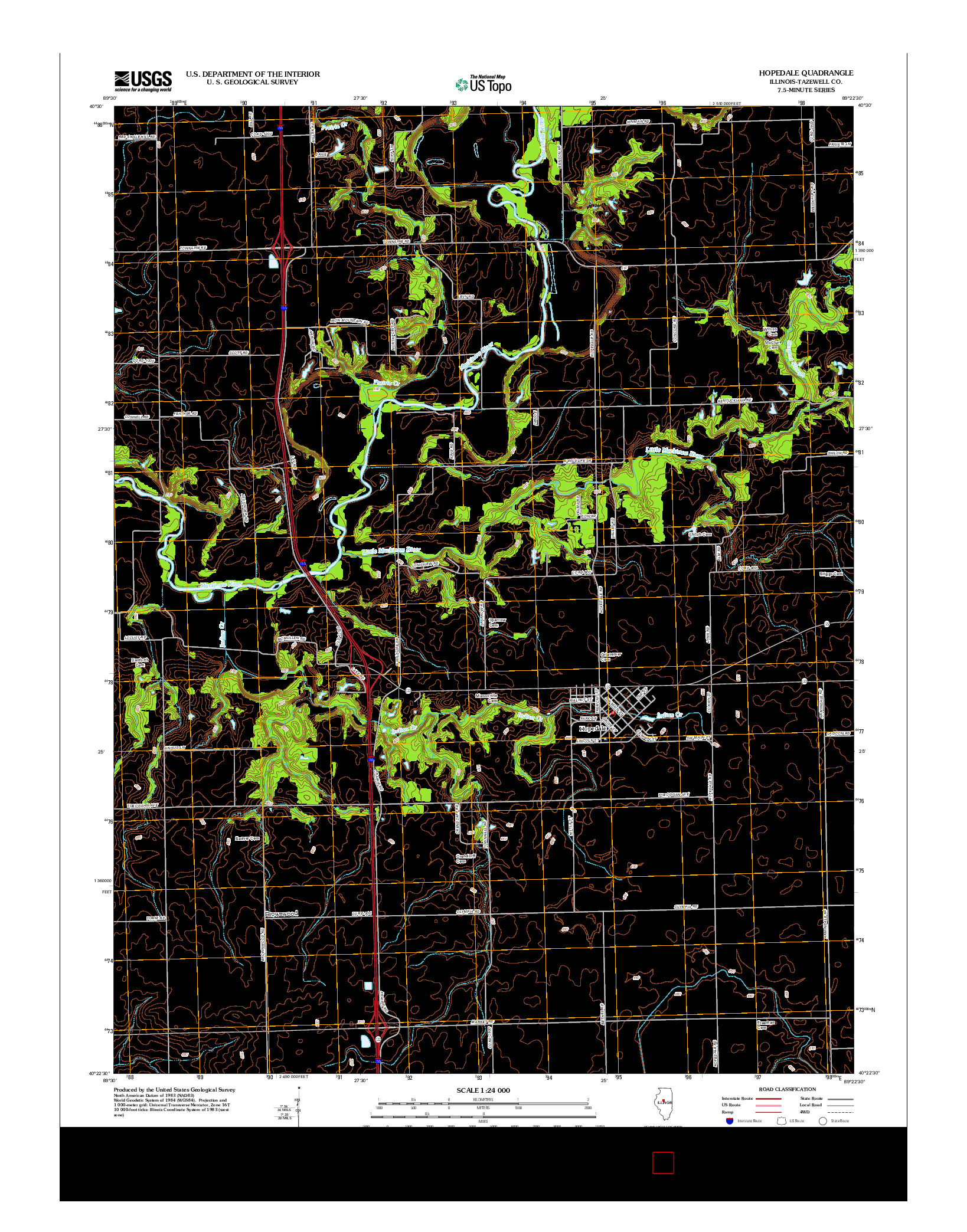 USGS US TOPO 7.5-MINUTE MAP FOR HOPEDALE, IL 2012