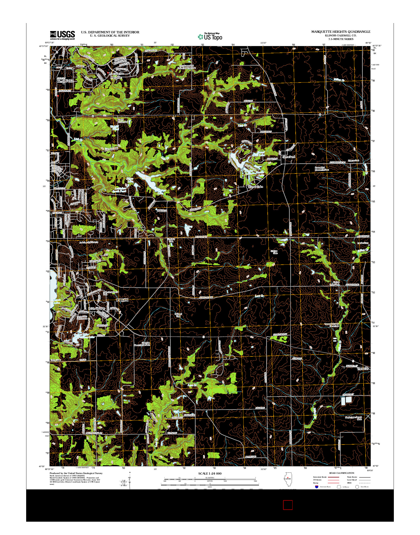 USGS US TOPO 7.5-MINUTE MAP FOR MARQUETTE HEIGHTS, IL 2012