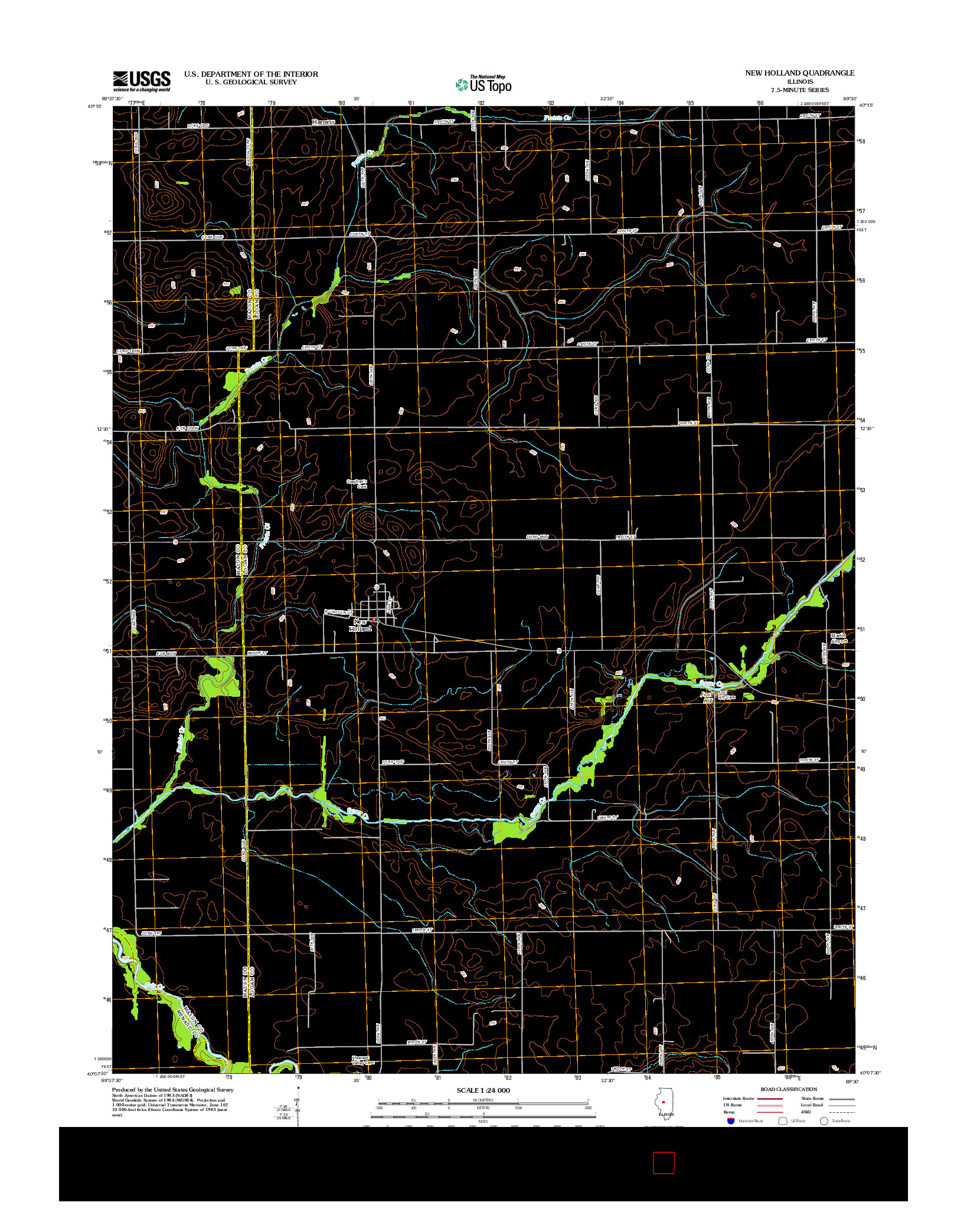 USGS US TOPO 7.5-MINUTE MAP FOR NEW HOLLAND, IL 2012