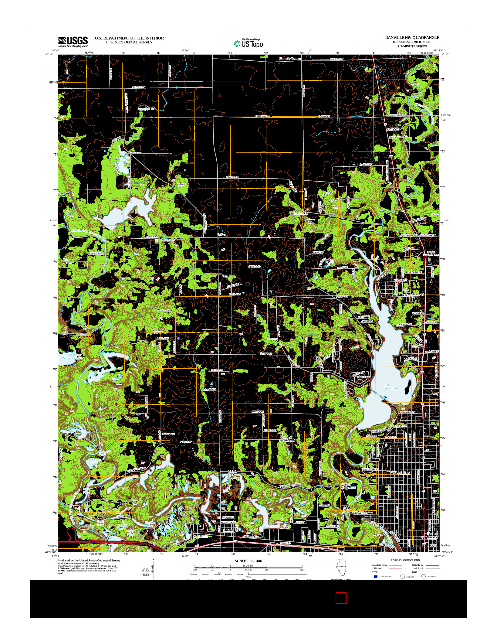 USGS US TOPO 7.5-MINUTE MAP FOR DANVILLE NW, IL 2012