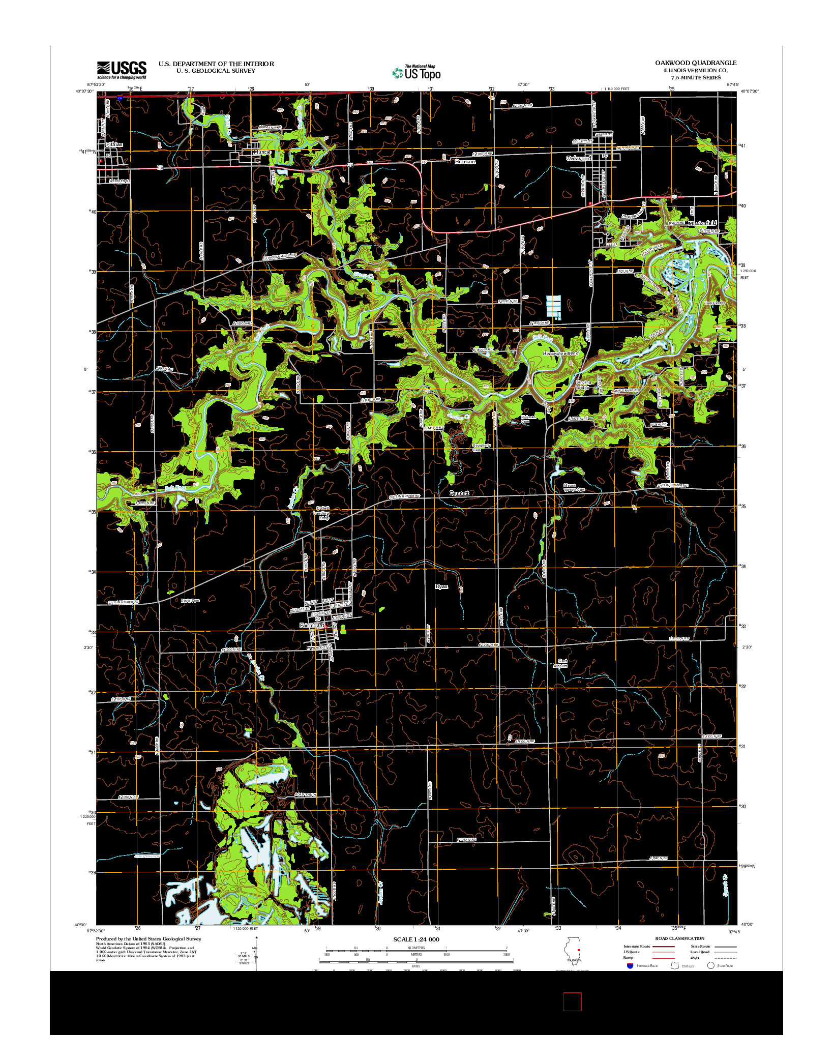 USGS US TOPO 7.5-MINUTE MAP FOR OAKWOOD, IL 2012