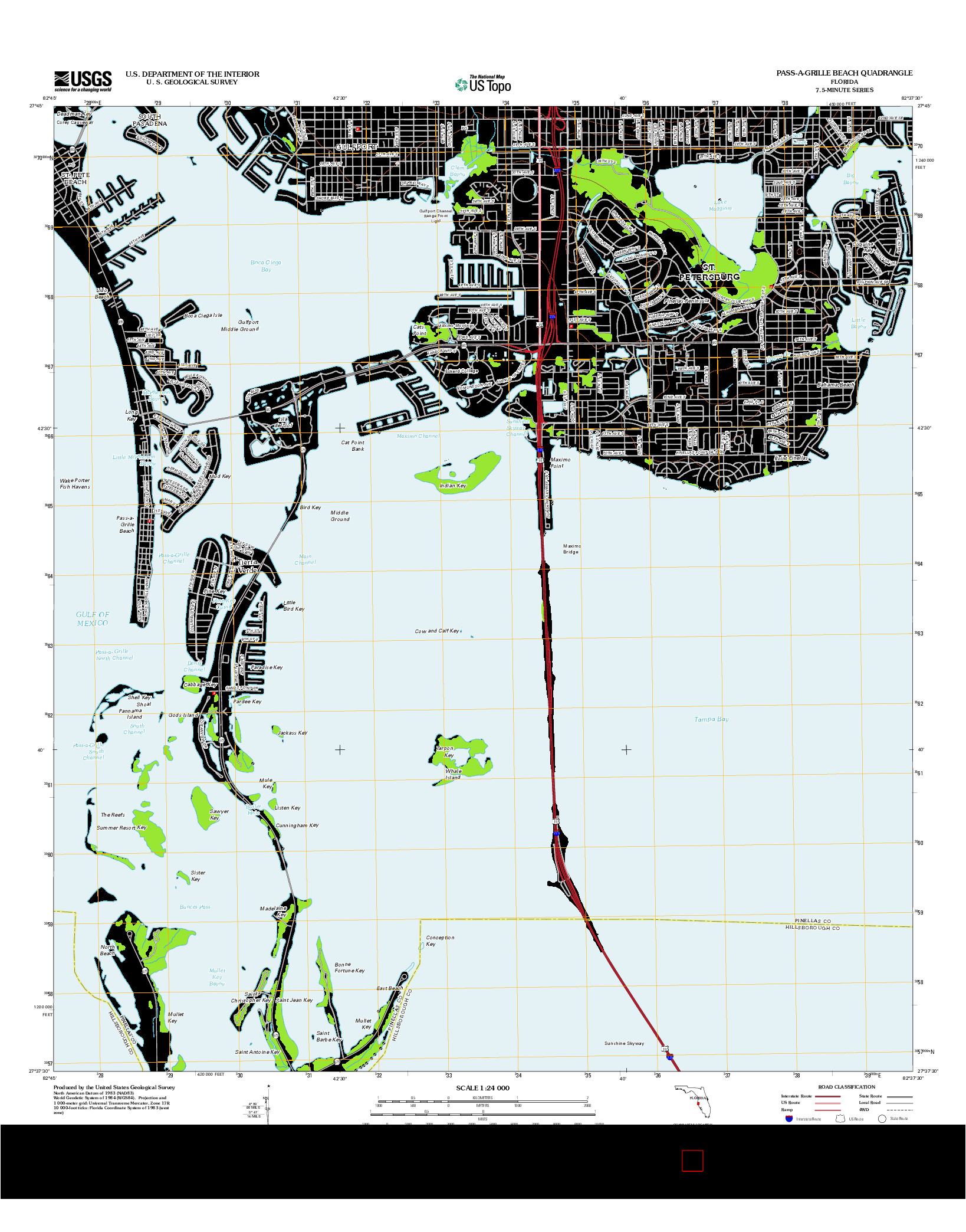 USGS US TOPO 7.5-MINUTE MAP FOR PASS-A-GRILLE BEACH, FL 2012