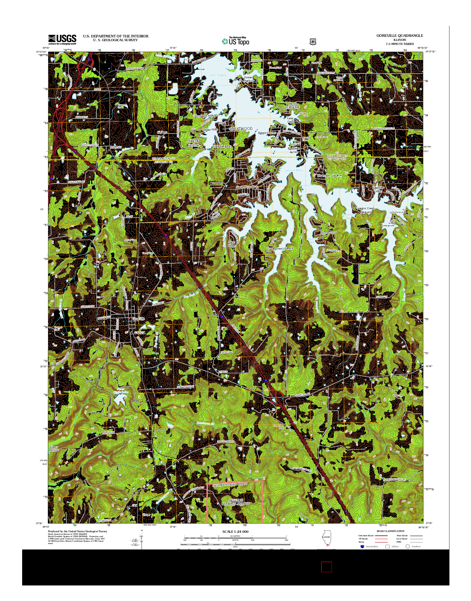 USGS US TOPO 7.5-MINUTE MAP FOR GOREVILLE, IL 2012