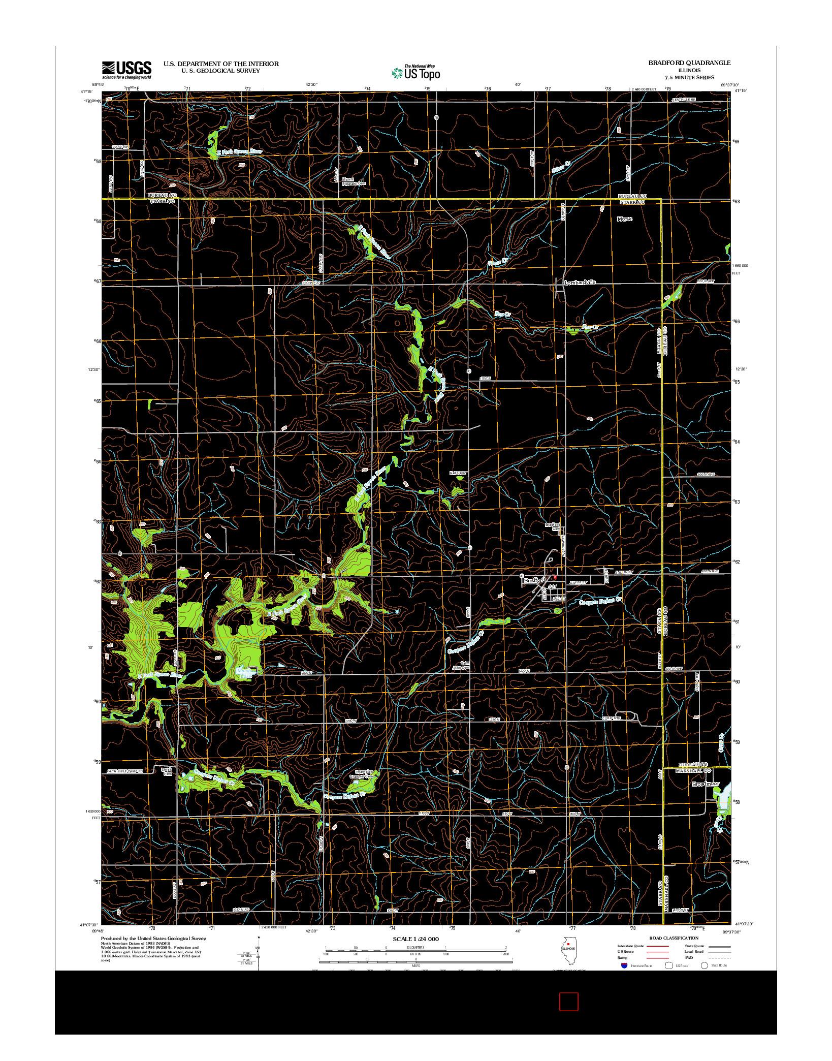 USGS US TOPO 7.5-MINUTE MAP FOR BRADFORD, IL 2012