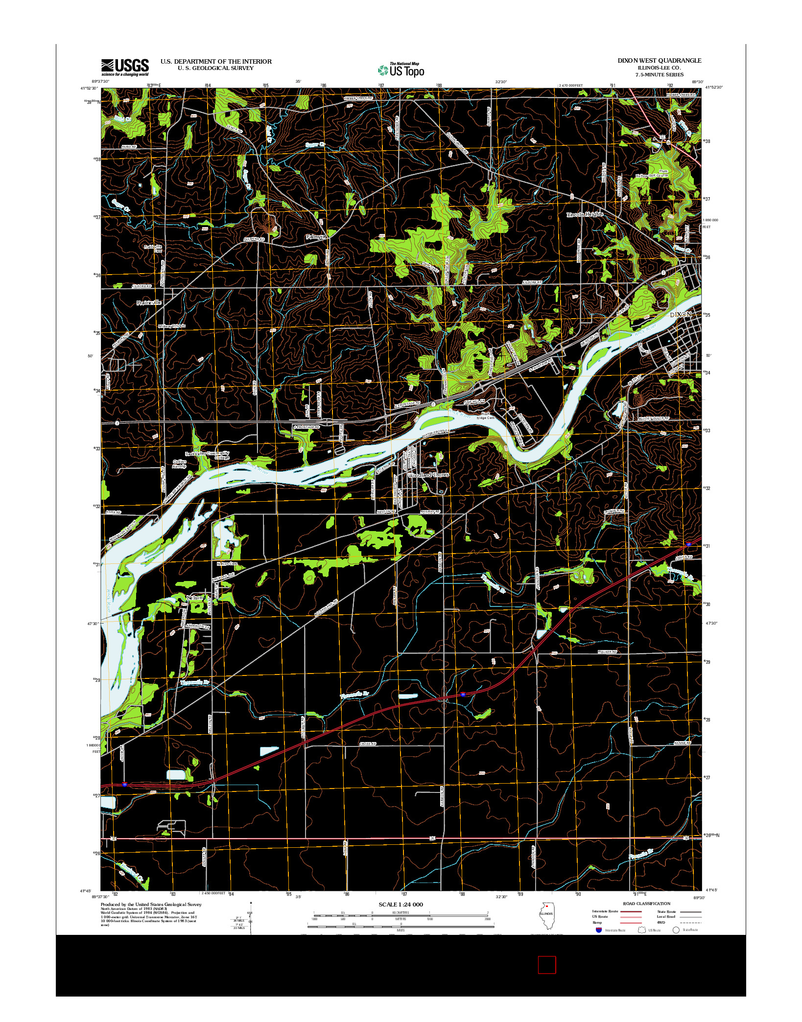 USGS US TOPO 7.5-MINUTE MAP FOR DIXON WEST, IL 2012