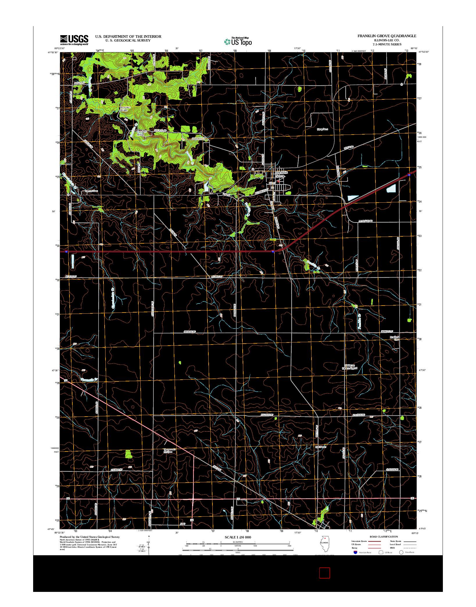 USGS US TOPO 7.5-MINUTE MAP FOR FRANKLIN GROVE, IL 2012