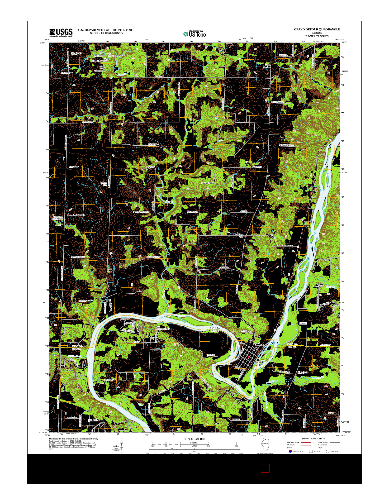 USGS US TOPO 7.5-MINUTE MAP FOR GRAND DETOUR, IL 2012