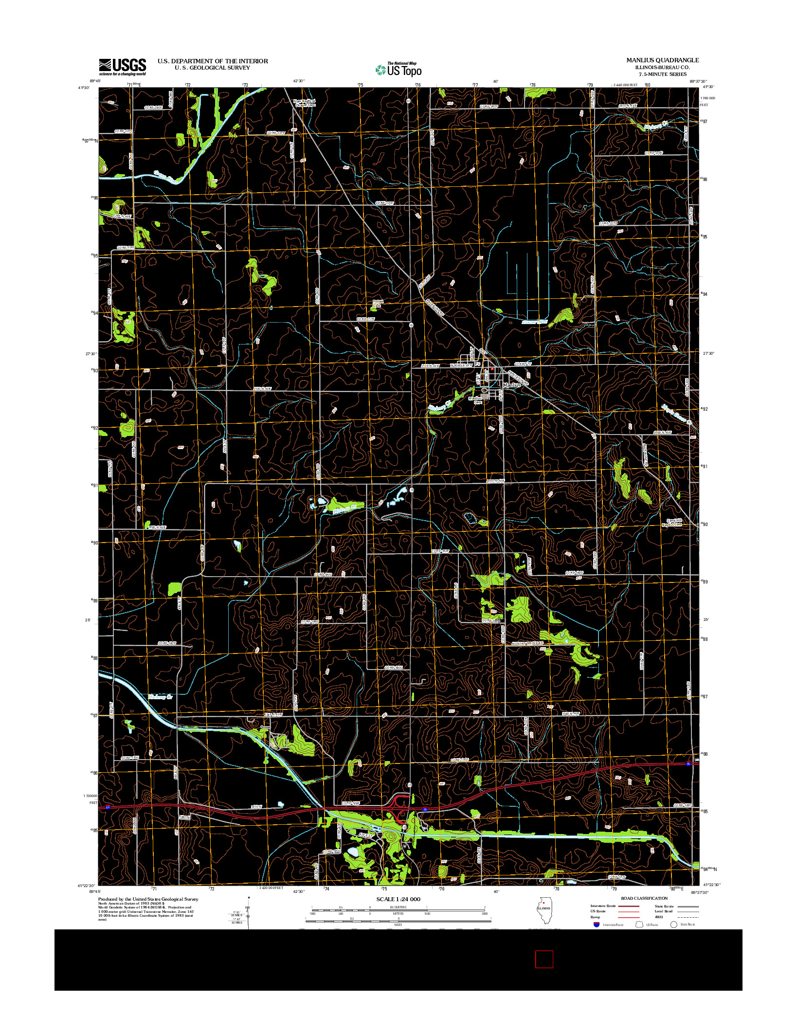 USGS US TOPO 7.5-MINUTE MAP FOR MANLIUS, IL 2012