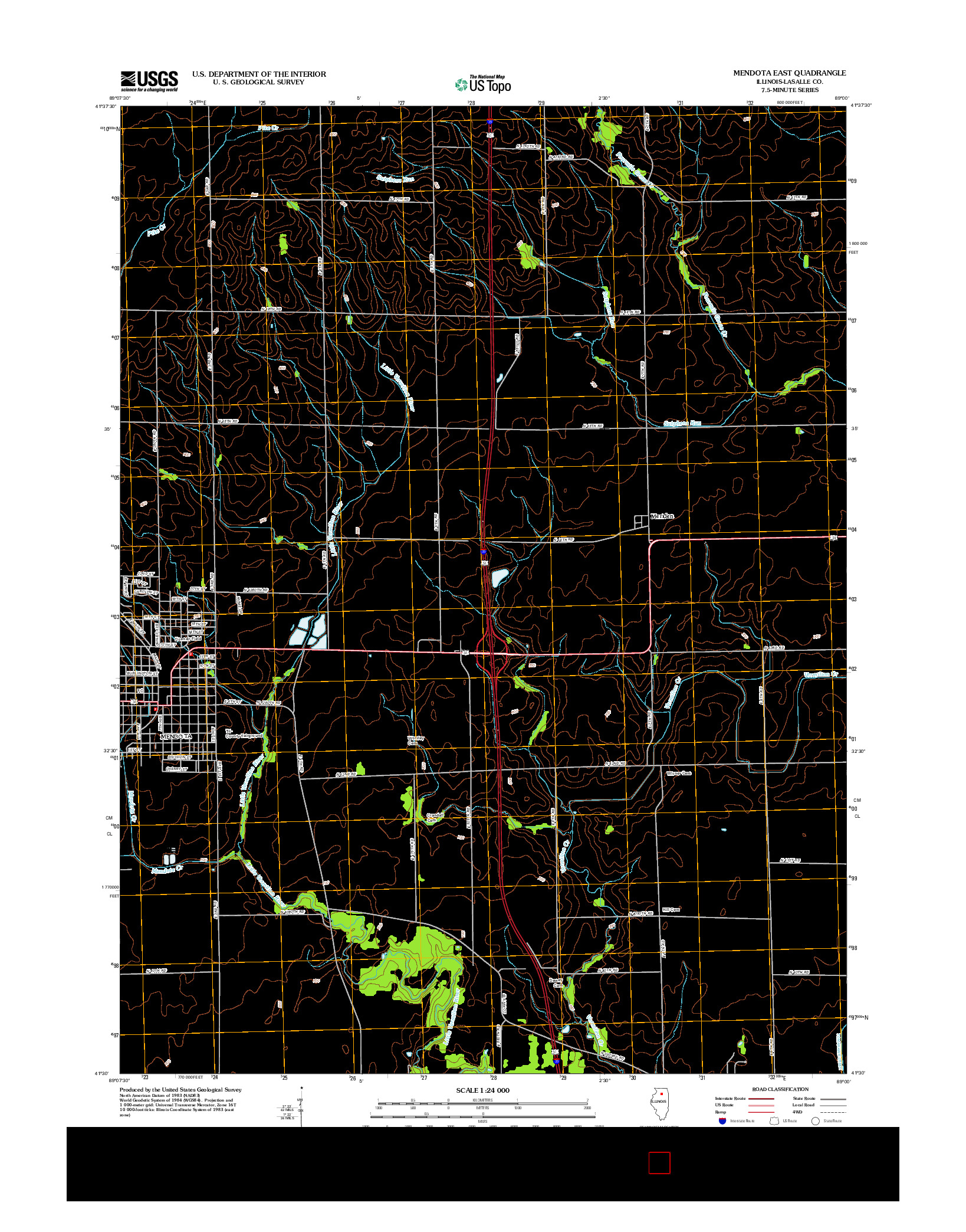 USGS US TOPO 7.5-MINUTE MAP FOR MENDOTA EAST, IL 2012