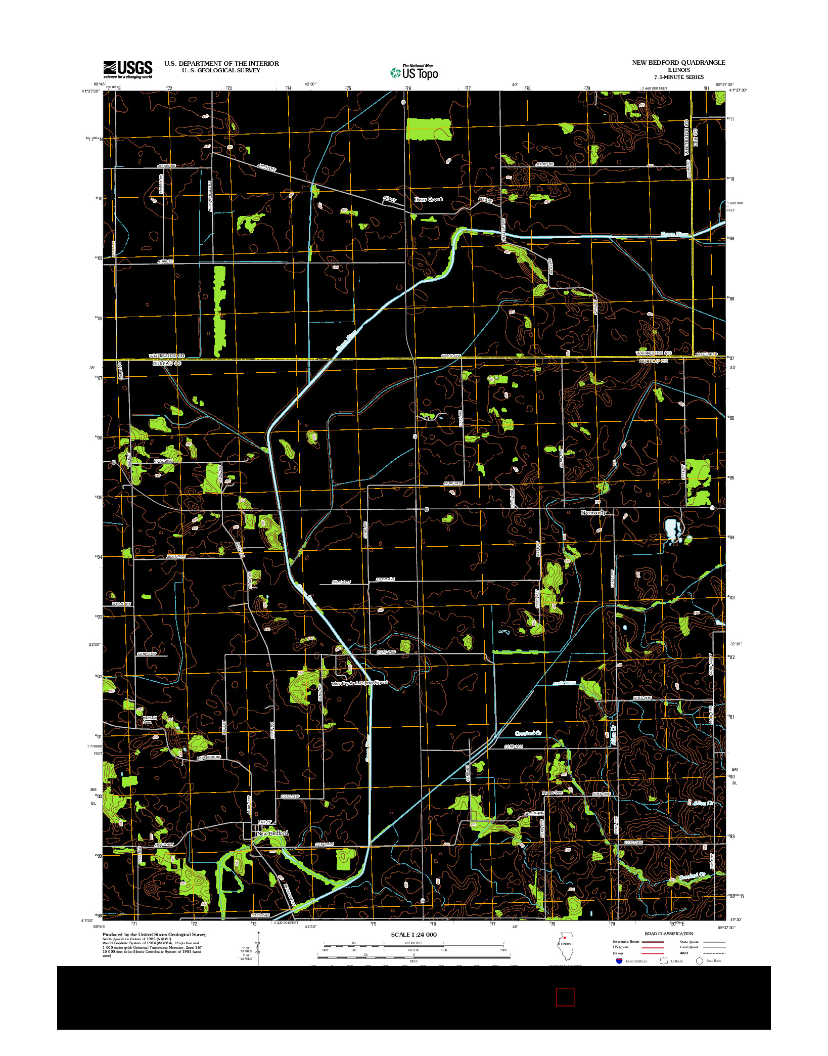 USGS US TOPO 7.5-MINUTE MAP FOR NEW BEDFORD, IL 2012