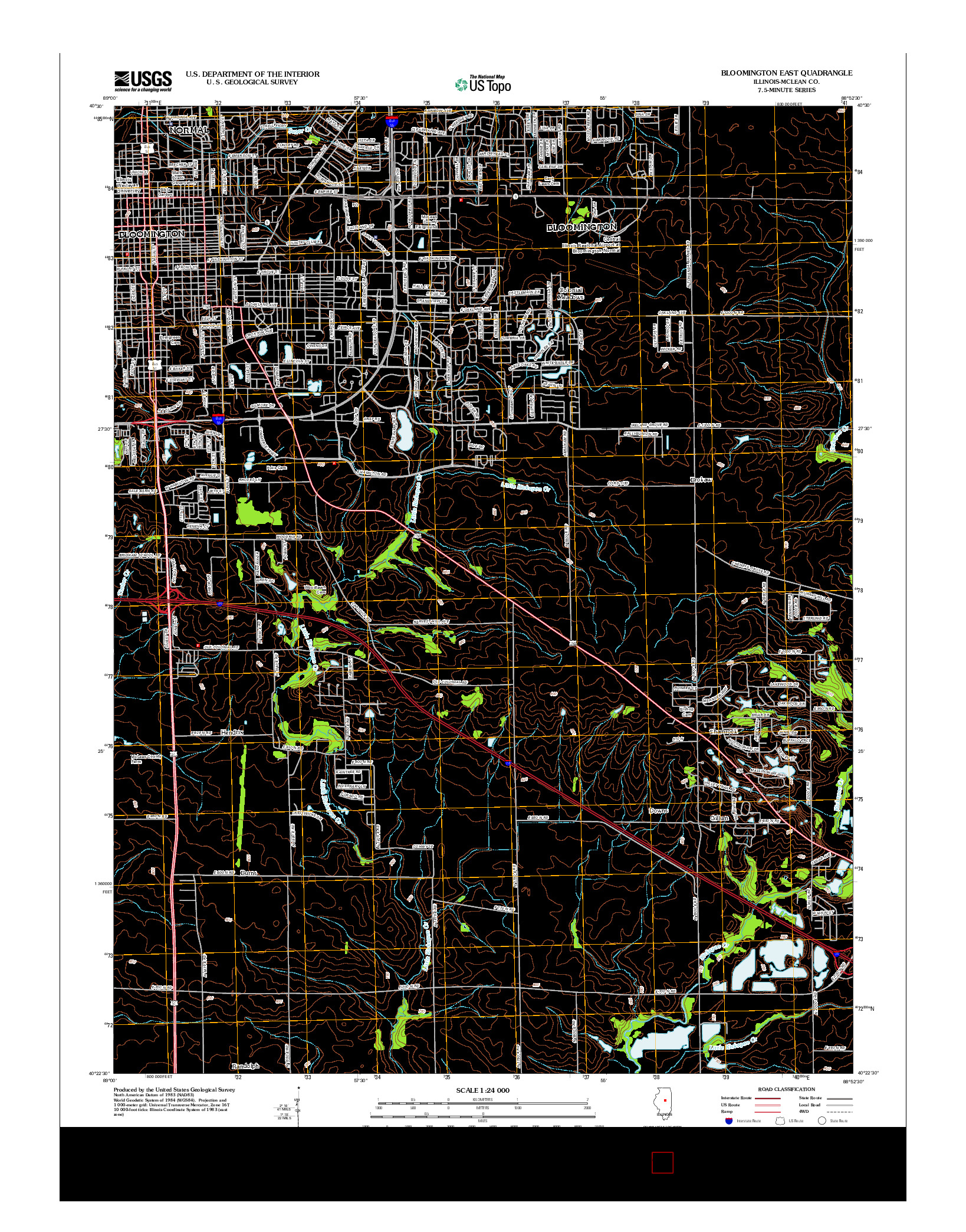 USGS US TOPO 7.5-MINUTE MAP FOR BLOOMINGTON EAST, IL 2012