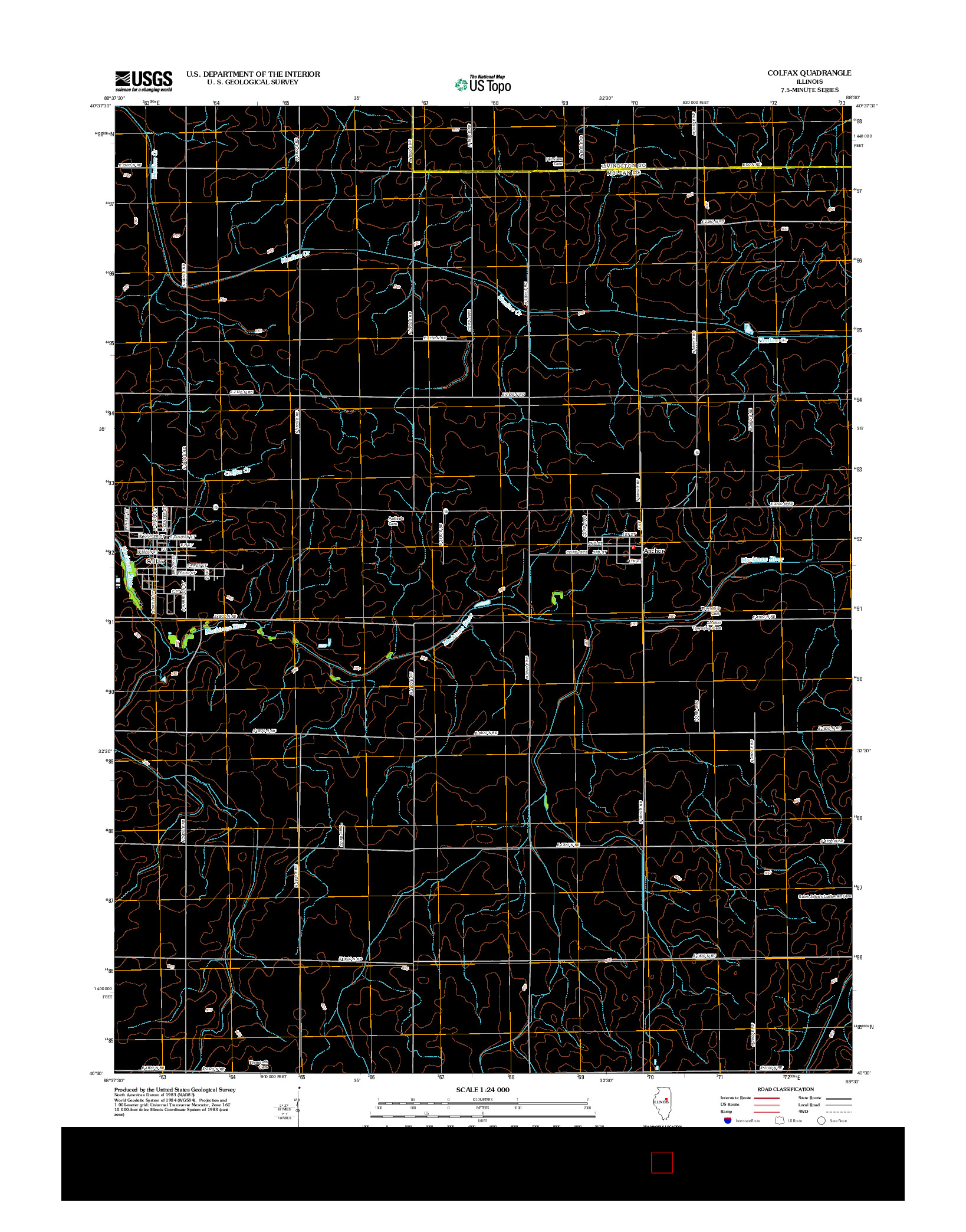 USGS US TOPO 7.5-MINUTE MAP FOR COLFAX, IL 2012