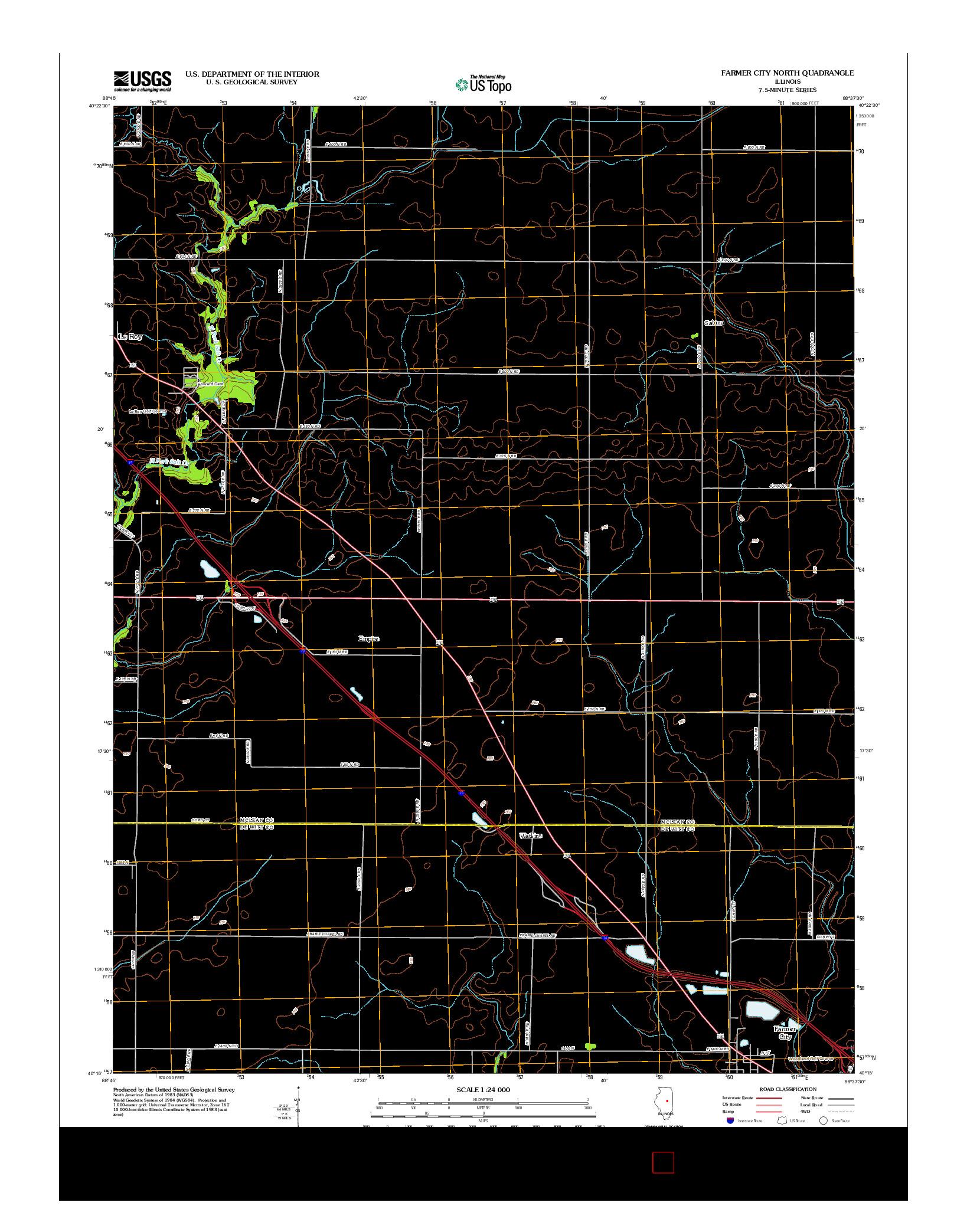 USGS US TOPO 7.5-MINUTE MAP FOR FARMER CITY NORTH, IL 2012