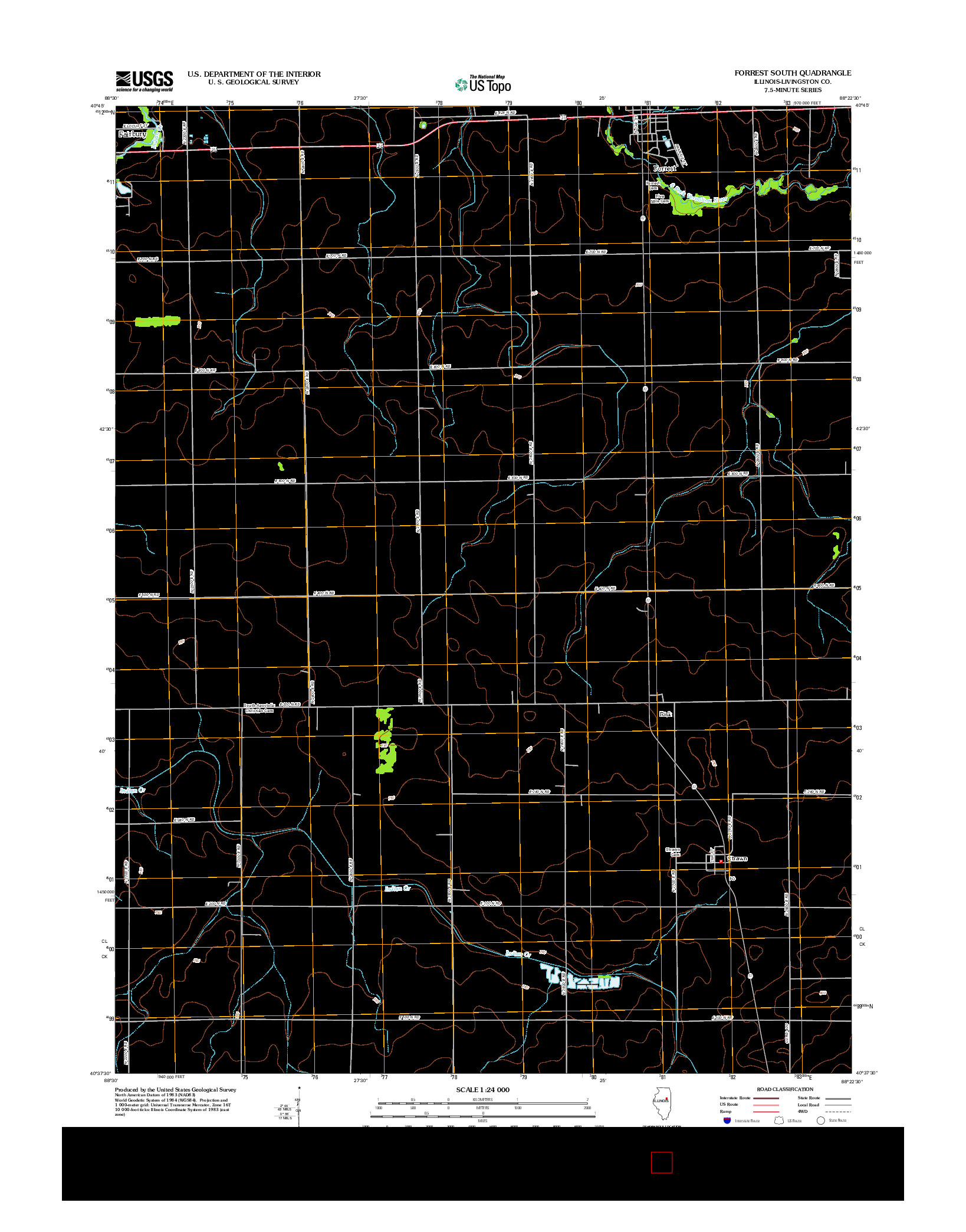 USGS US TOPO 7.5-MINUTE MAP FOR FORREST SOUTH, IL 2012