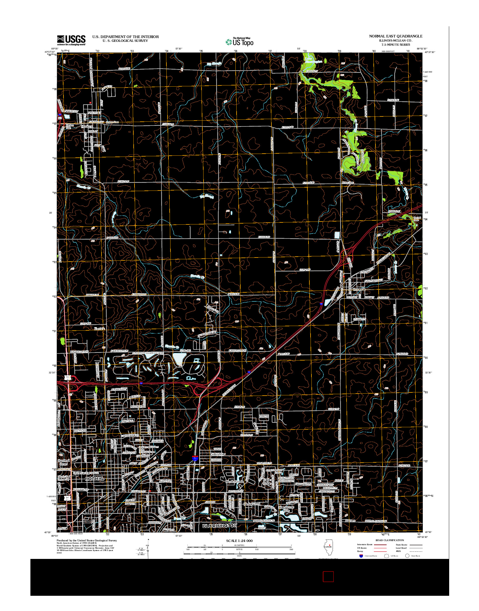 USGS US TOPO 7.5-MINUTE MAP FOR NORMAL EAST, IL 2012