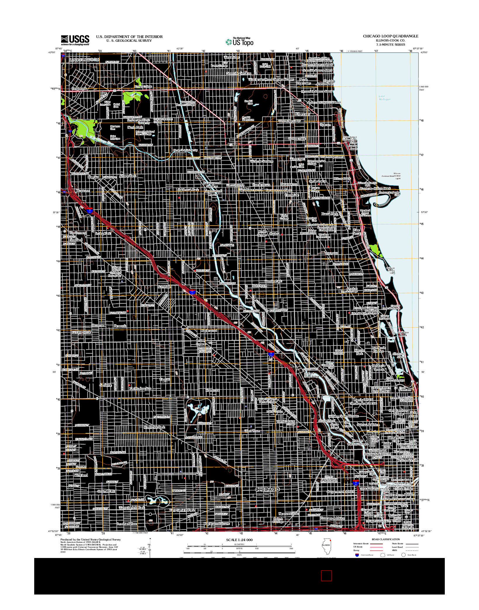 USGS US TOPO 7.5-MINUTE MAP FOR CHICAGO LOOP, IL 2012