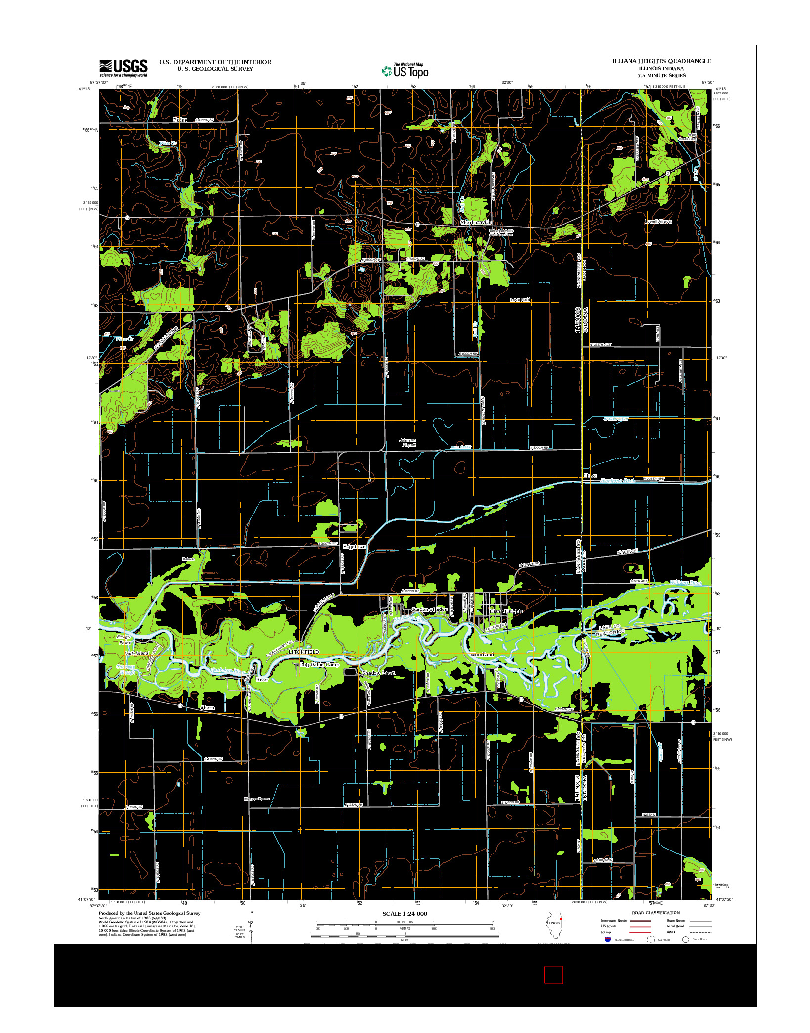 USGS US TOPO 7.5-MINUTE MAP FOR ILLIANA HEIGHTS, IL-IN 2012