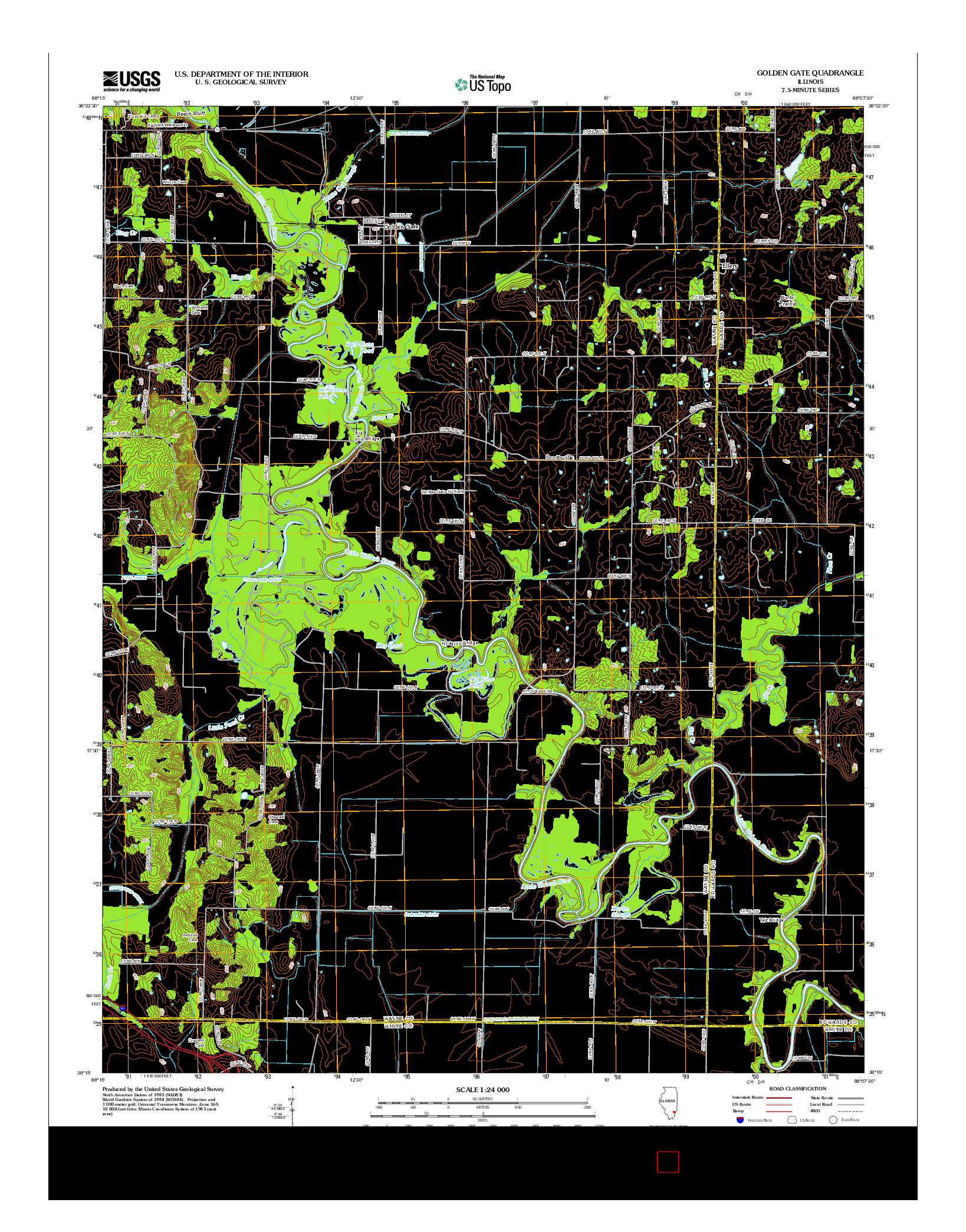 USGS US TOPO 7.5-MINUTE MAP FOR GOLDEN GATE, IL 2012