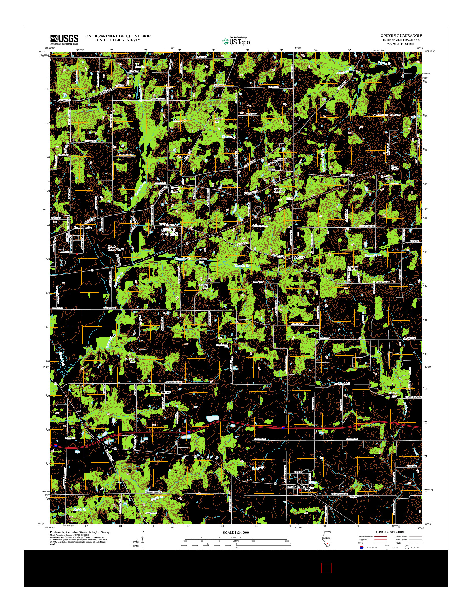 USGS US TOPO 7.5-MINUTE MAP FOR OPDYKE, IL 2012