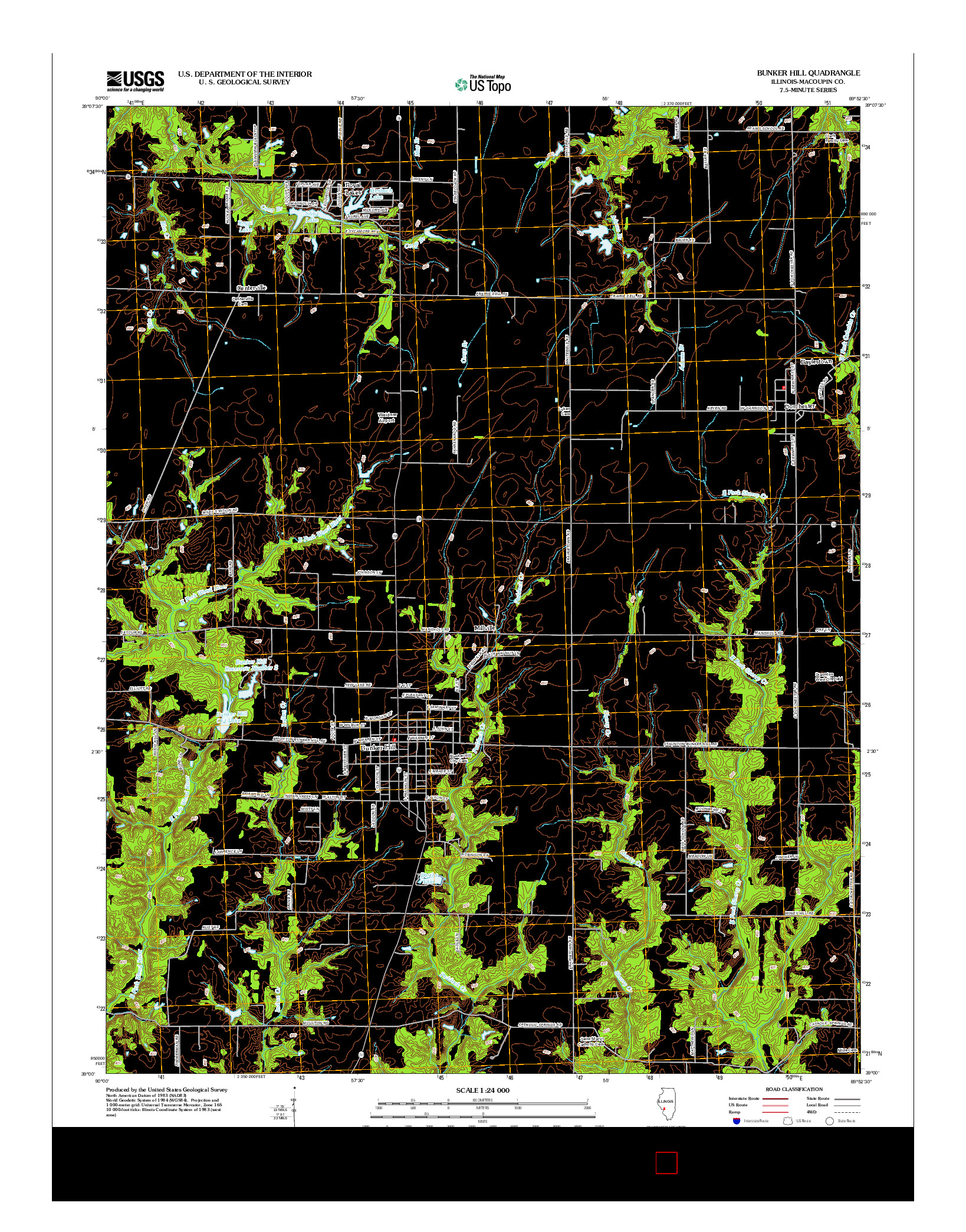 USGS US TOPO 7.5-MINUTE MAP FOR BUNKER HILL, IL 2012
