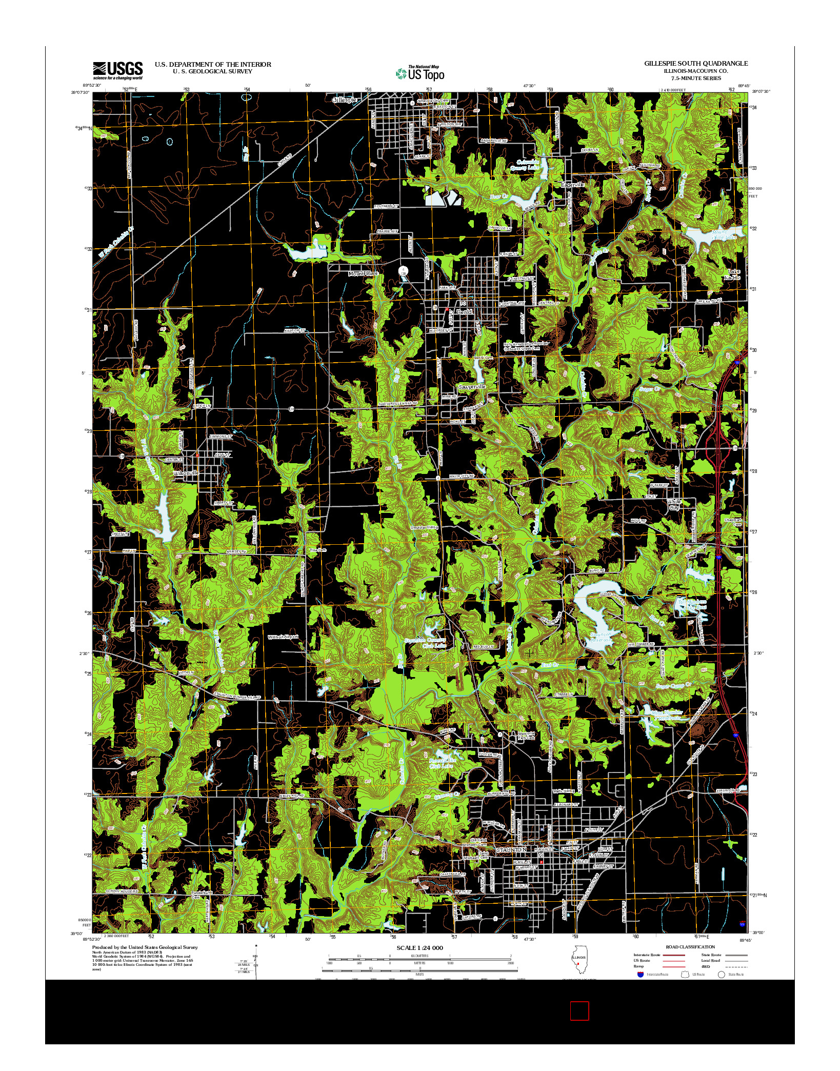 USGS US TOPO 7.5-MINUTE MAP FOR GILLESPIE SOUTH, IL 2012