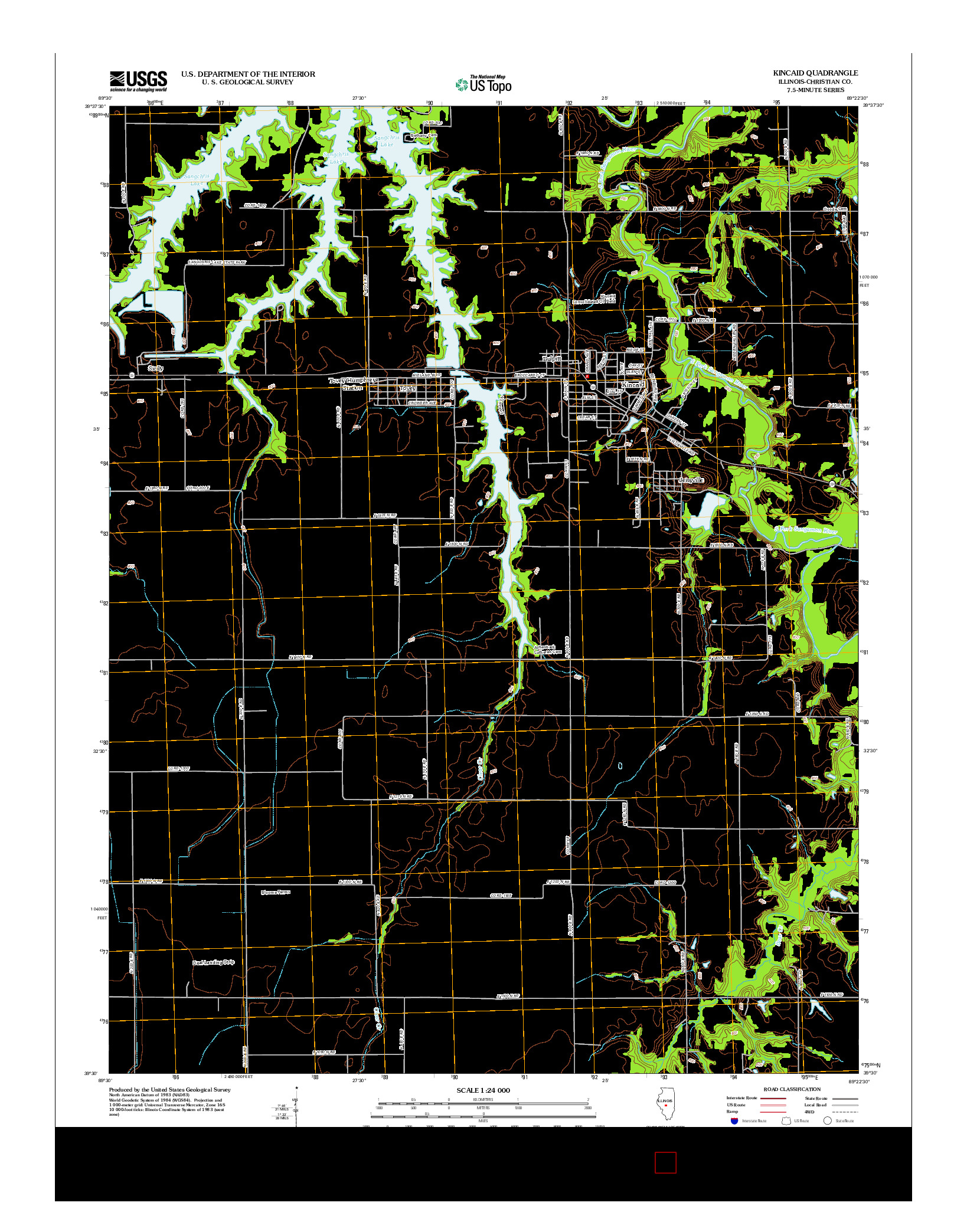 USGS US TOPO 7.5-MINUTE MAP FOR KINCAID, IL 2012