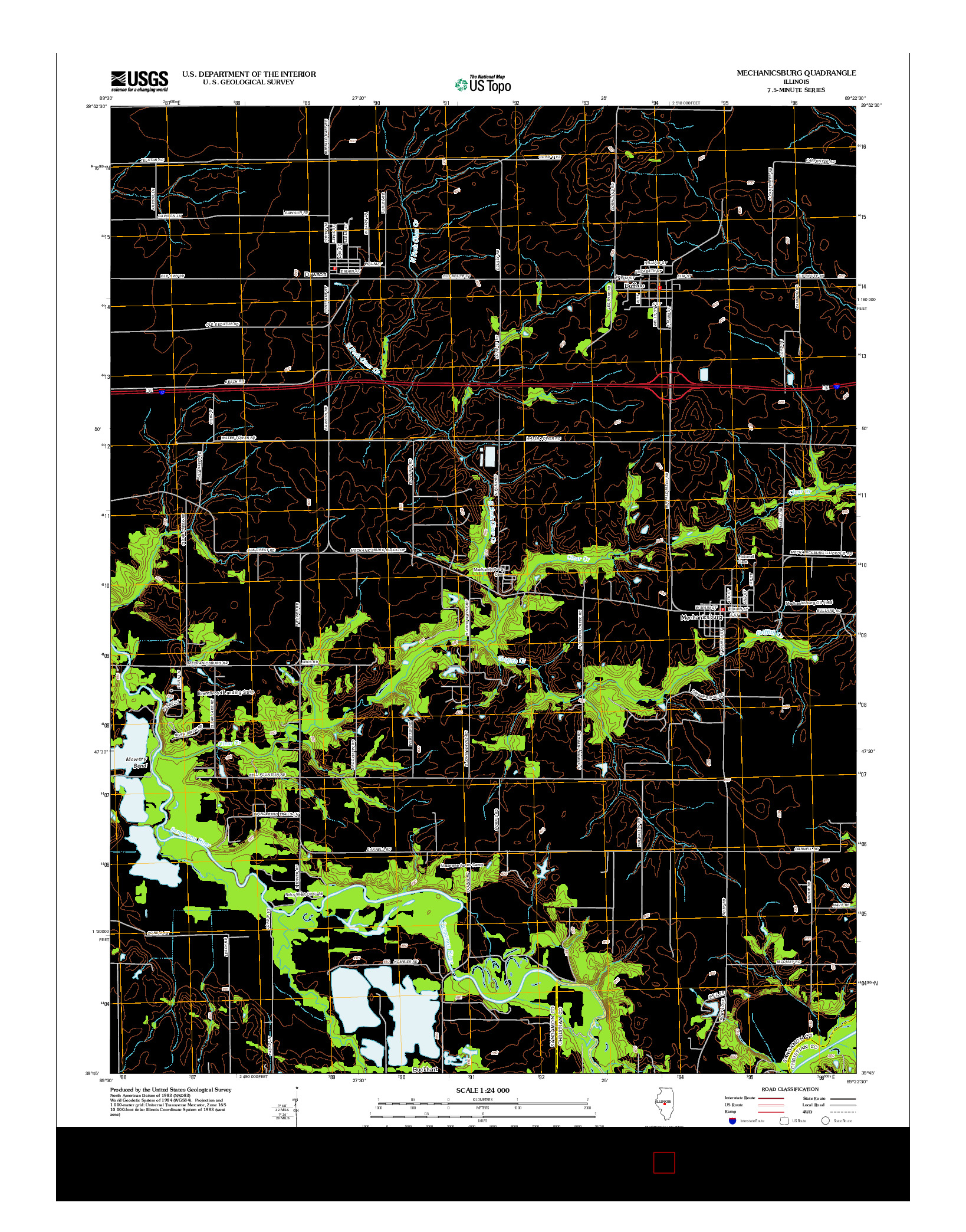 USGS US TOPO 7.5-MINUTE MAP FOR MECHANICSBURG, IL 2012