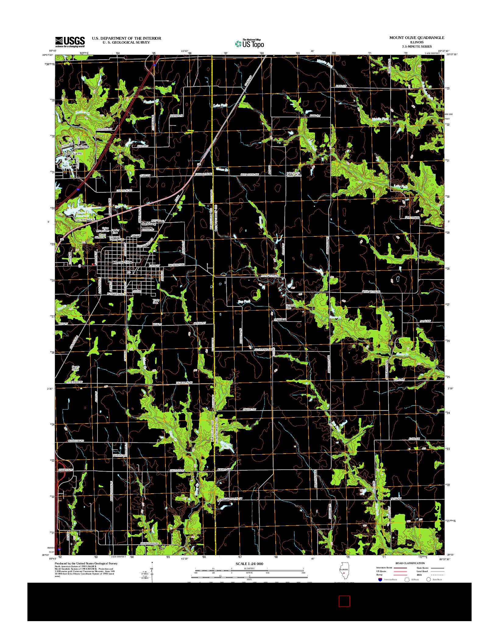 USGS US TOPO 7.5-MINUTE MAP FOR MOUNT OLIVE, IL 2012