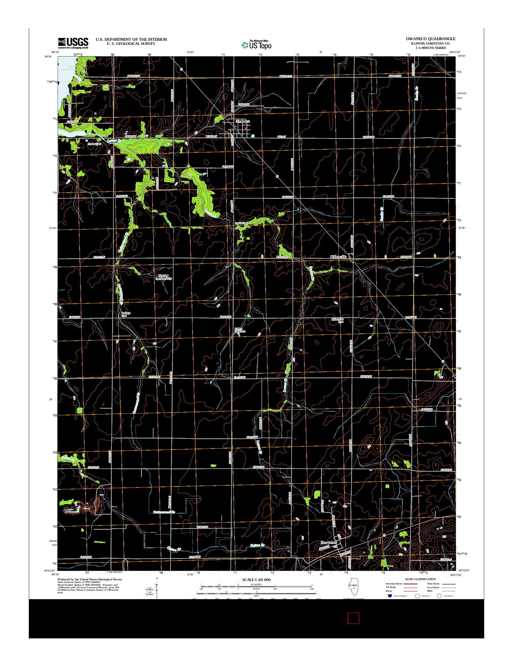 USGS US TOPO 7.5-MINUTE MAP FOR OWANECO, IL 2012