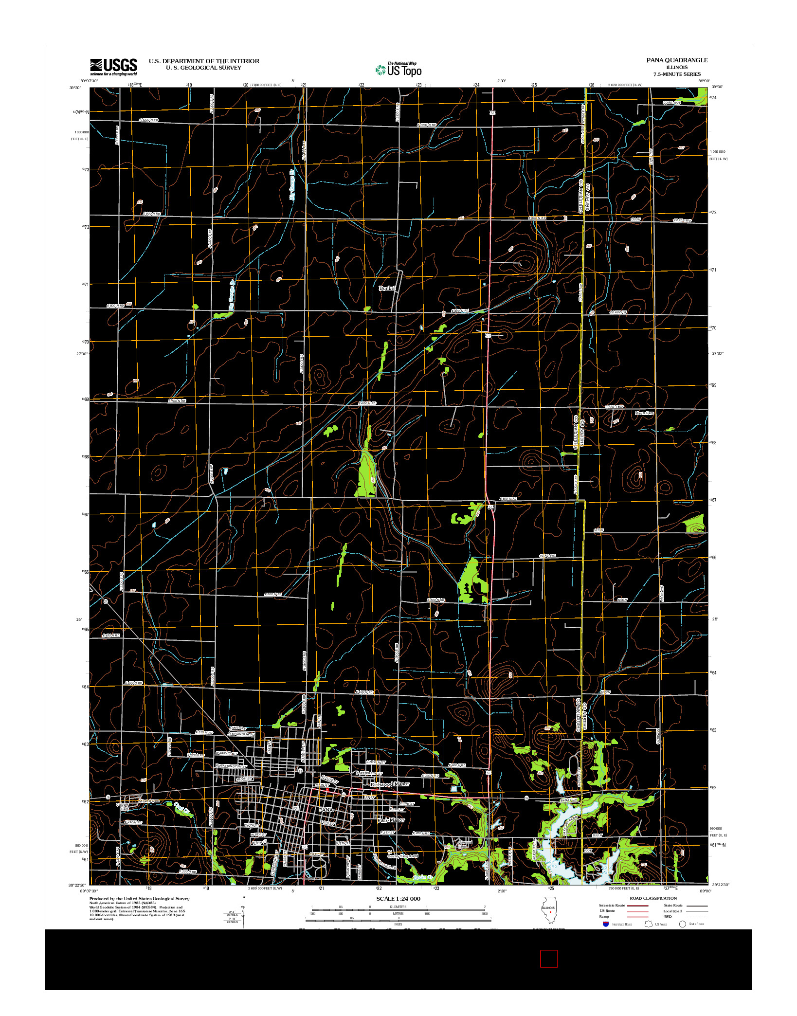 USGS US TOPO 7.5-MINUTE MAP FOR PANA, IL 2012