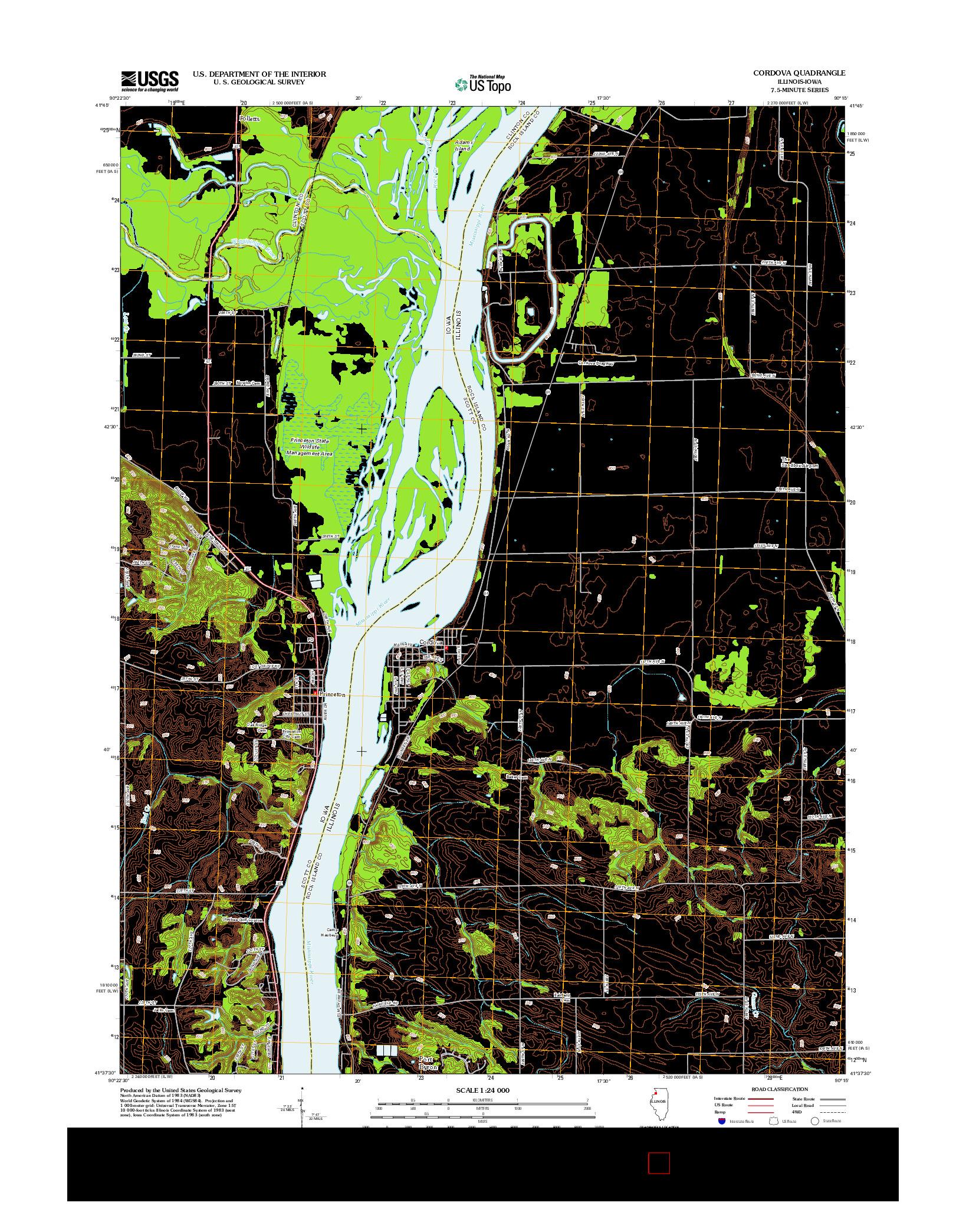 USGS US TOPO 7.5-MINUTE MAP FOR CORDOVA, IL-IA 2012