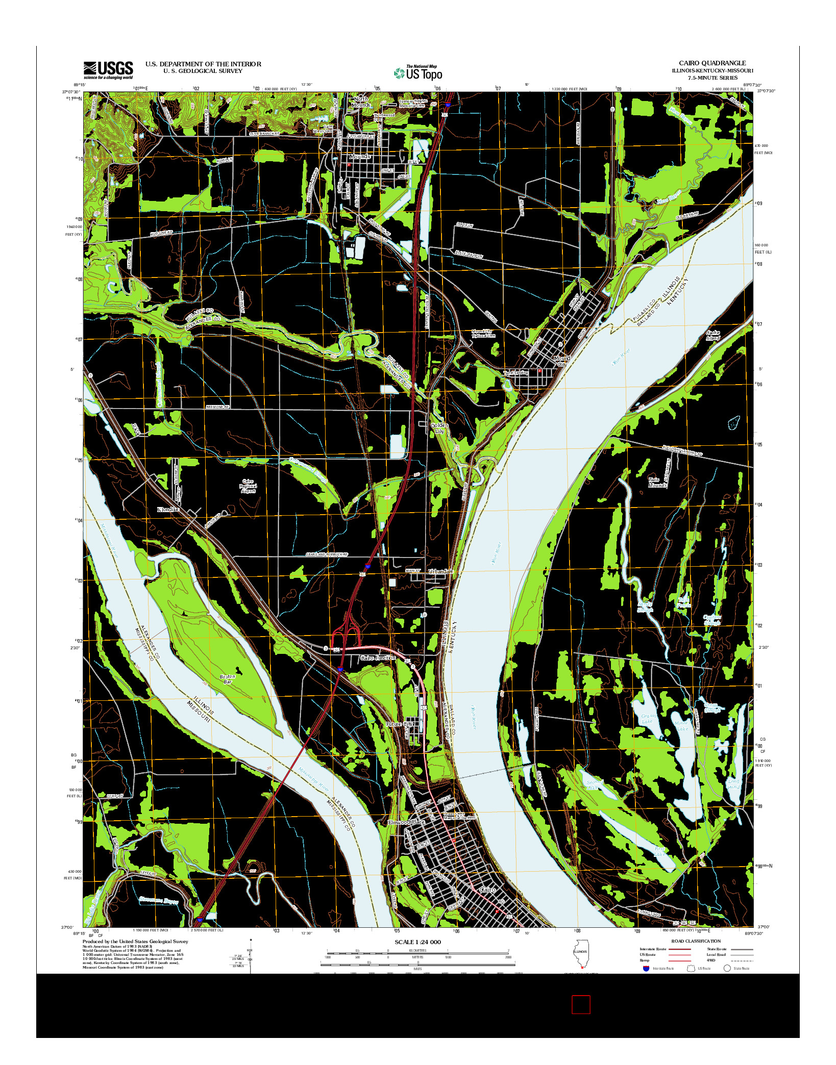 USGS US TOPO 7.5-MINUTE MAP FOR CAIRO, IL-KY-MO 2012