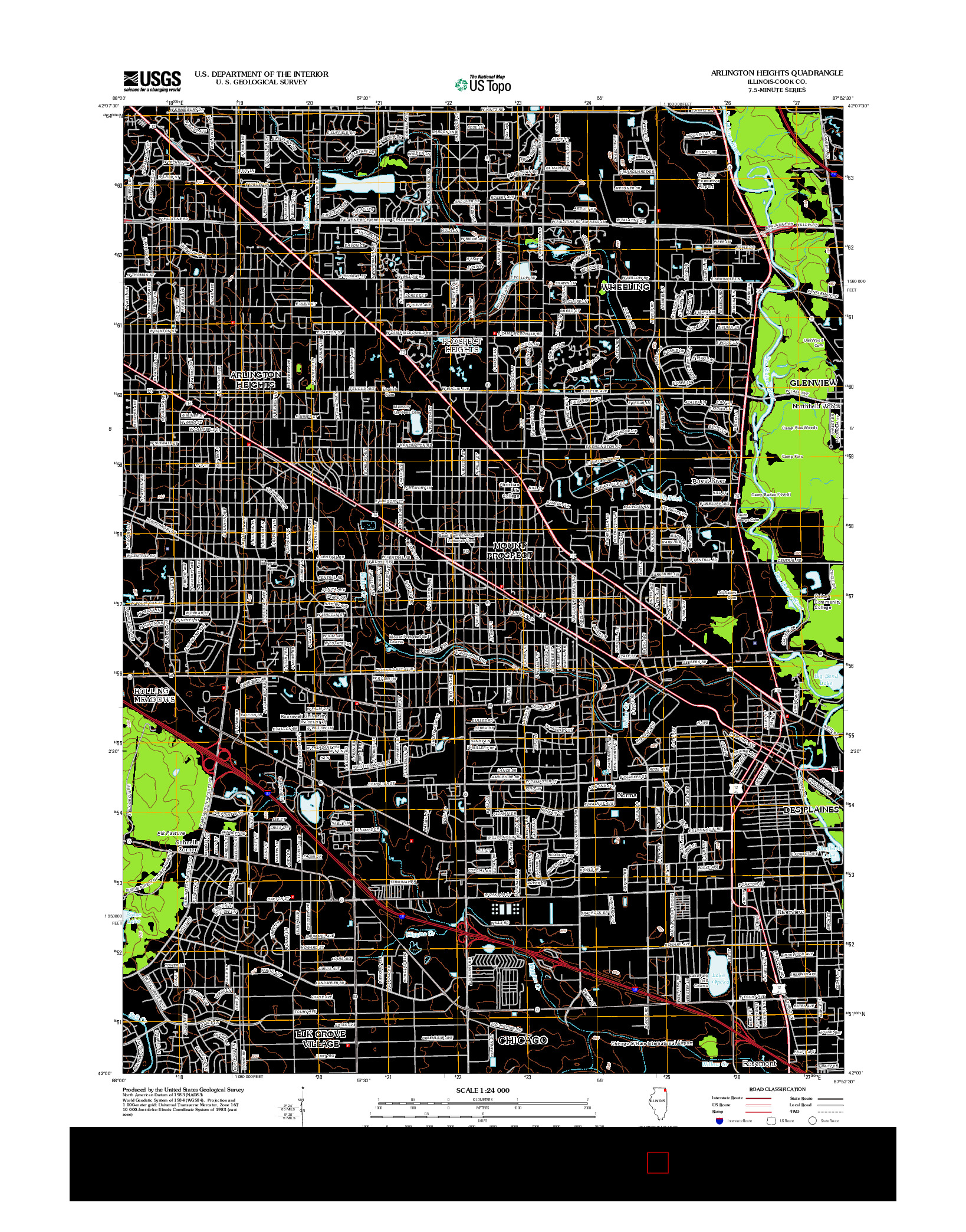 USGS US TOPO 7.5-MINUTE MAP FOR ARLINGTON HEIGHTS, IL 2012