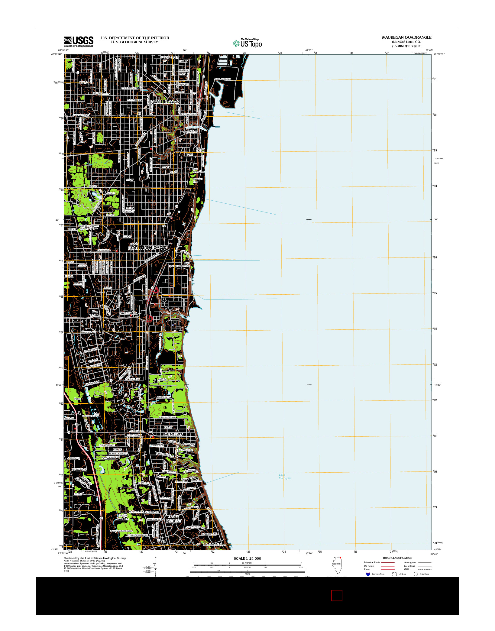 USGS US TOPO 7.5-MINUTE MAP FOR WAUKEGAN, IL 2012