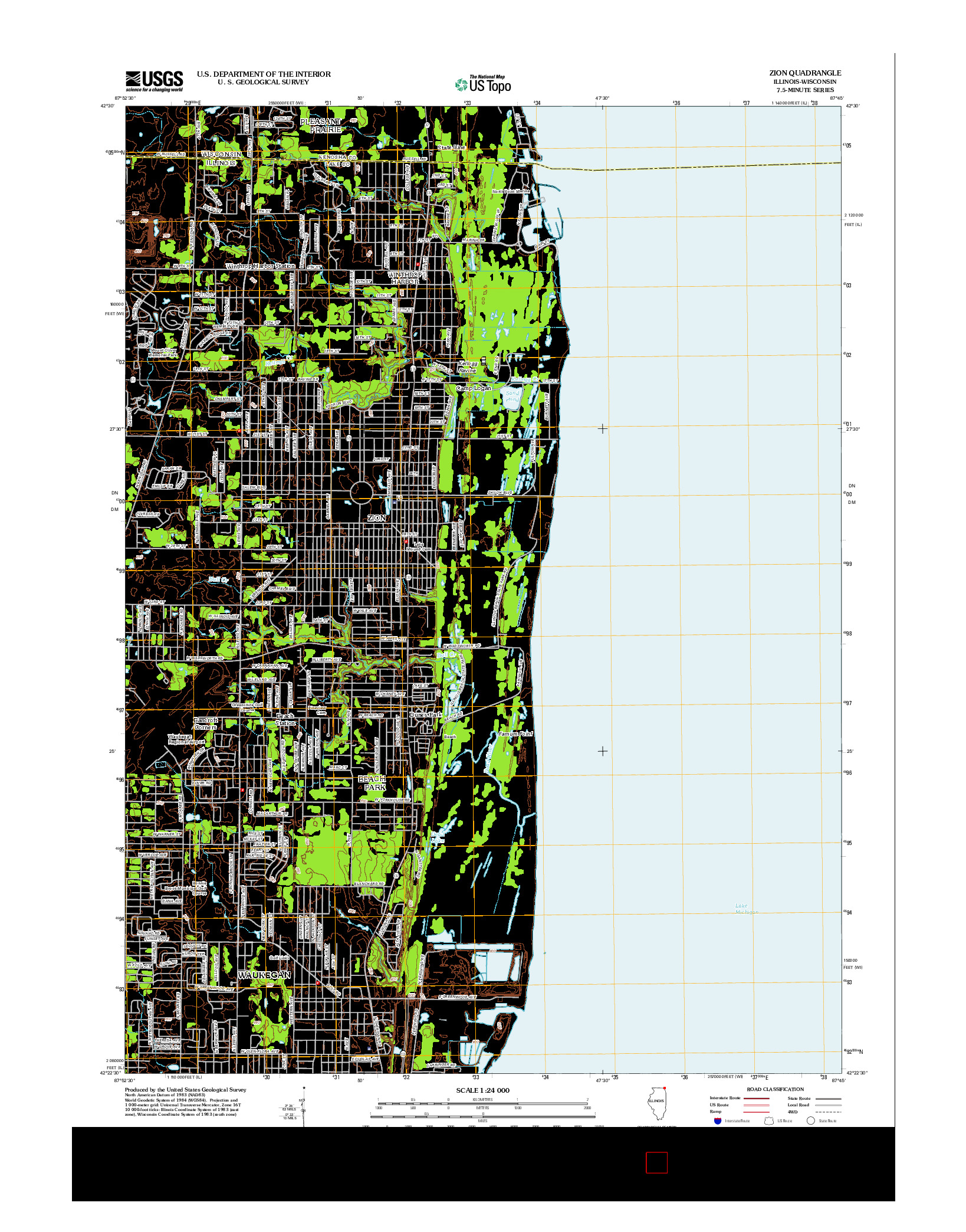 USGS US TOPO 7.5-MINUTE MAP FOR ZION, IL-WI 2012