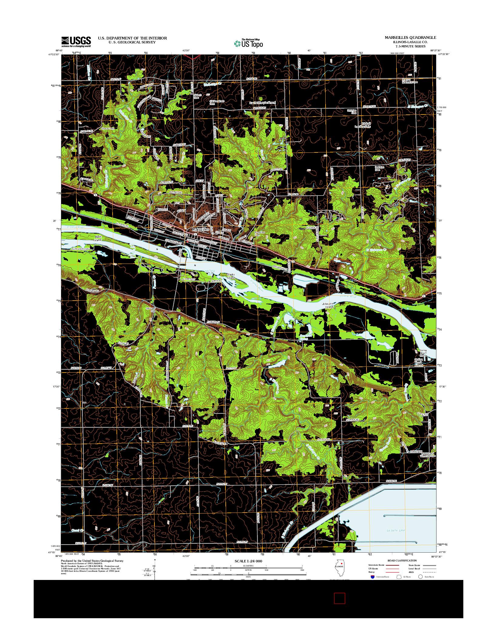 USGS US TOPO 7.5-MINUTE MAP FOR MARSEILLES, IL 2012