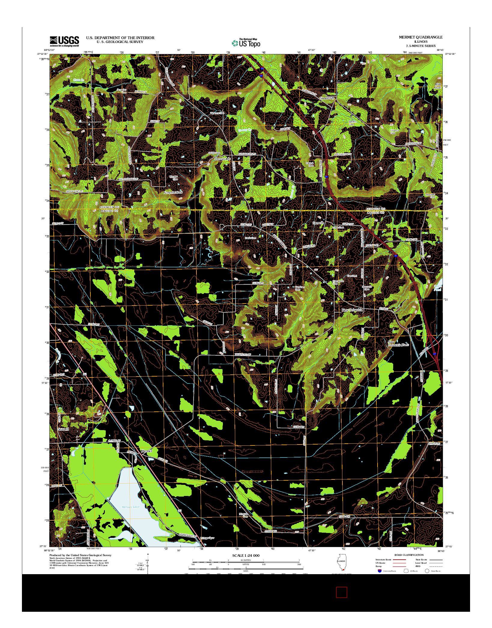 USGS US TOPO 7.5-MINUTE MAP FOR MERMET, IL 2012