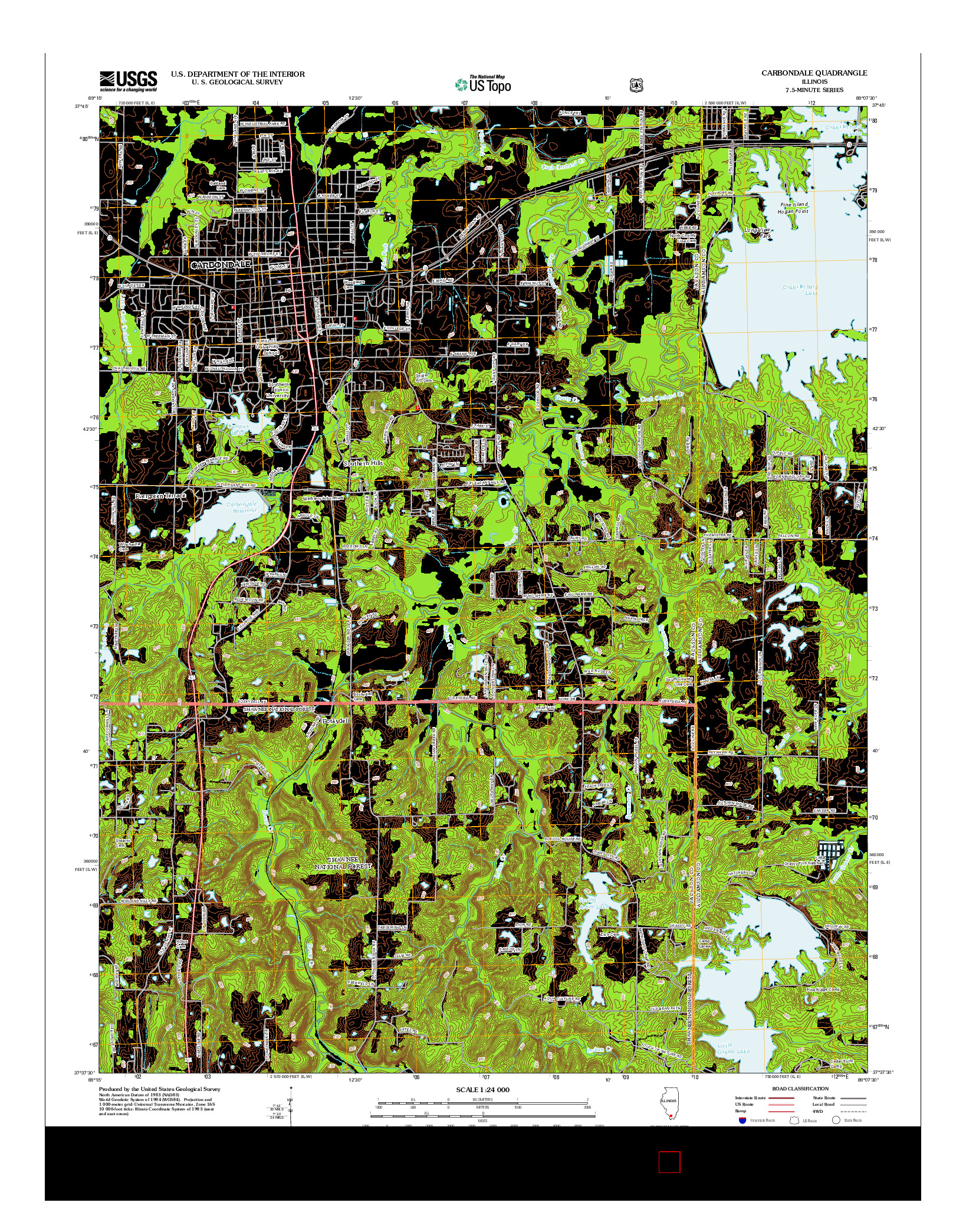 USGS US TOPO 7.5-MINUTE MAP FOR CARBONDALE, IL 2012