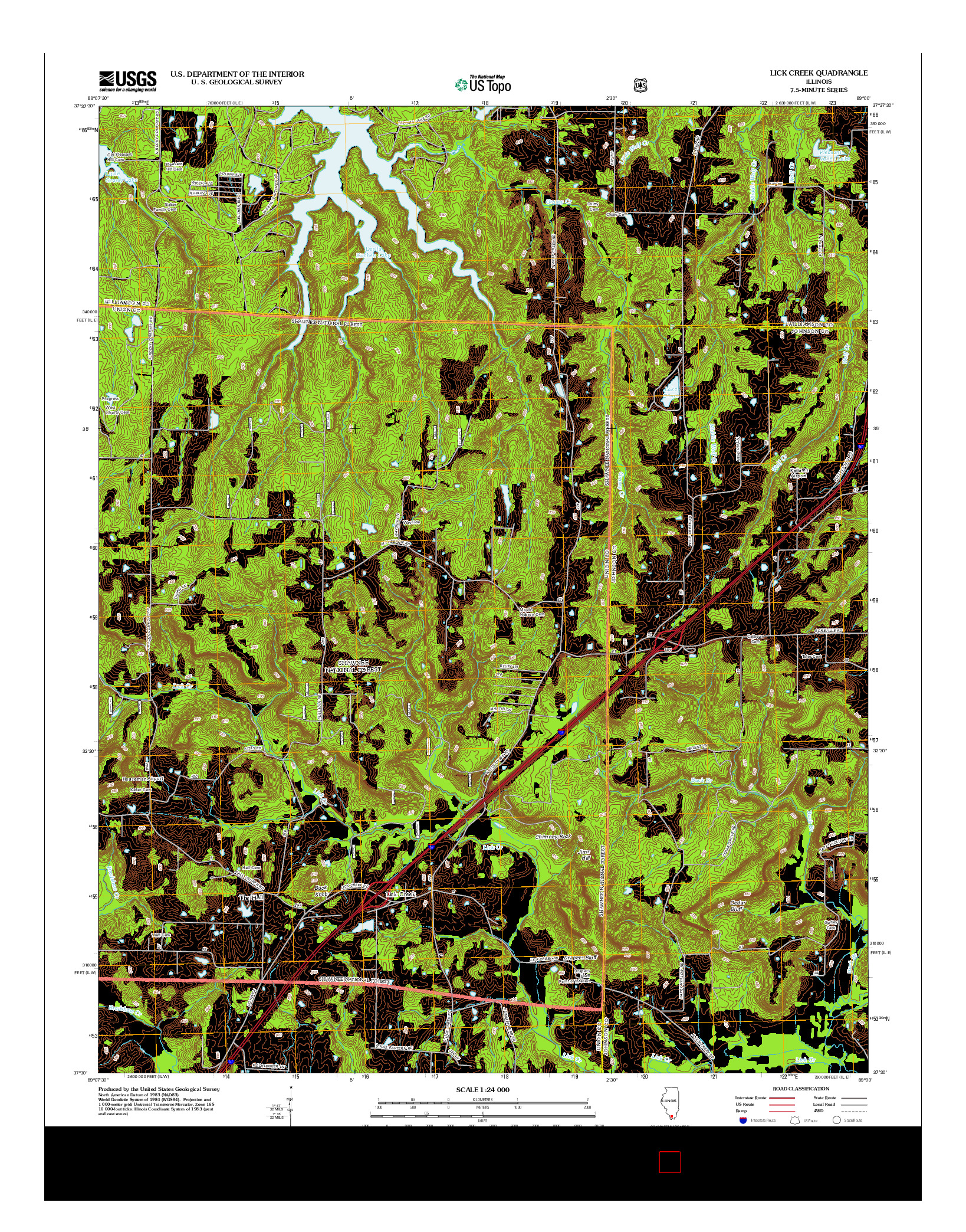 USGS US TOPO 7.5-MINUTE MAP FOR LICK CREEK, IL 2012