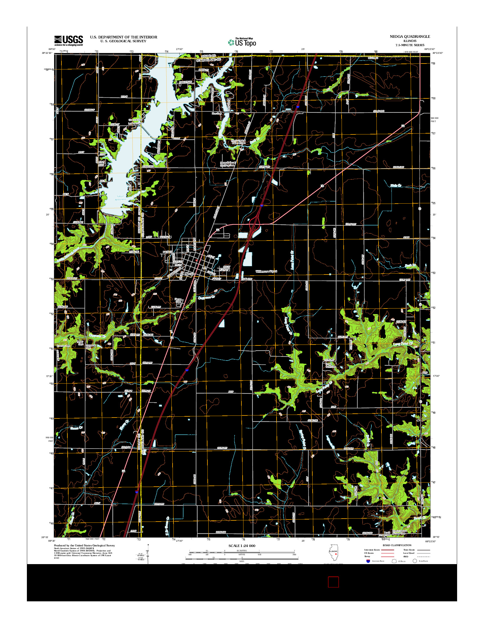 USGS US TOPO 7.5-MINUTE MAP FOR NEOGA, IL 2012