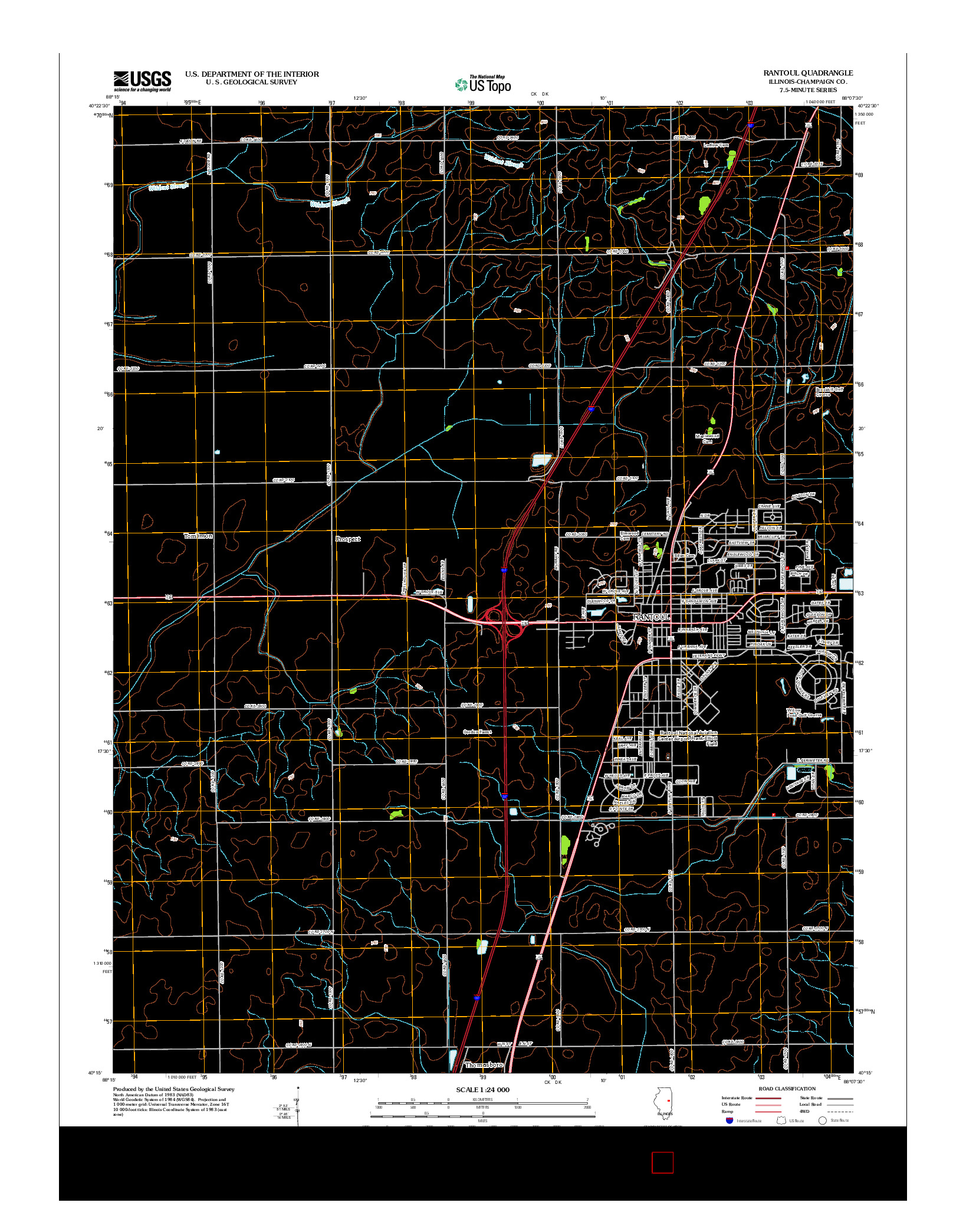 USGS US TOPO 7.5-MINUTE MAP FOR RANTOUL, IL 2012
