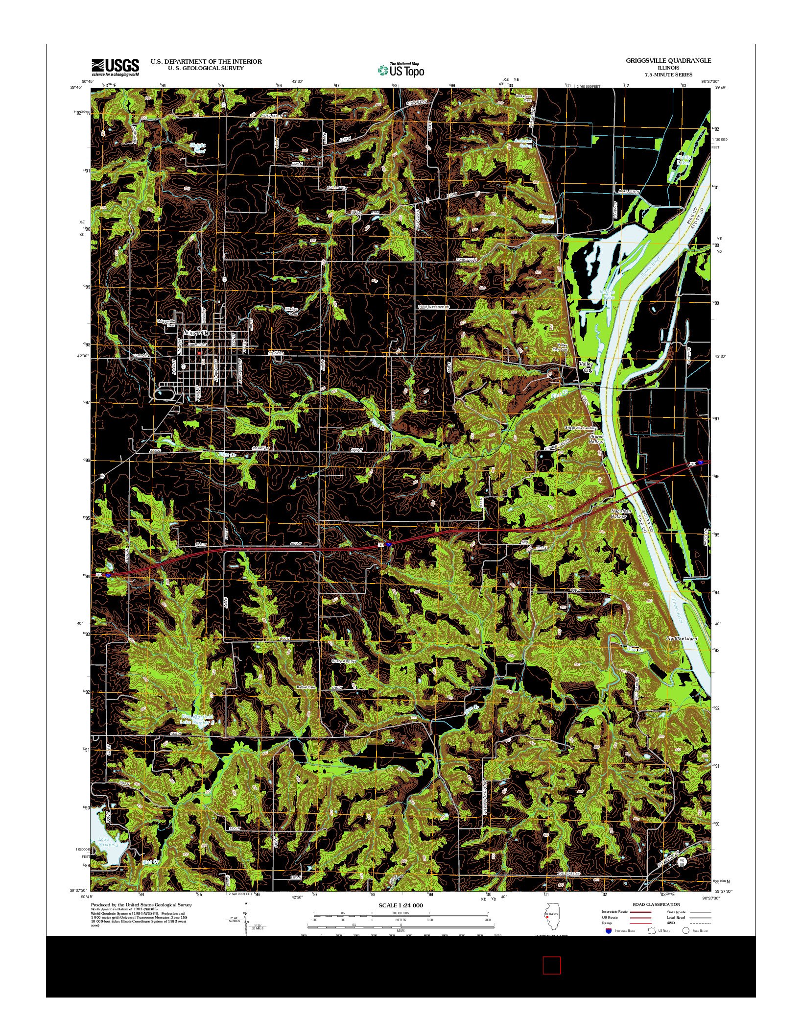 USGS US TOPO 7.5-MINUTE MAP FOR GRIGGSVILLE, IL 2012