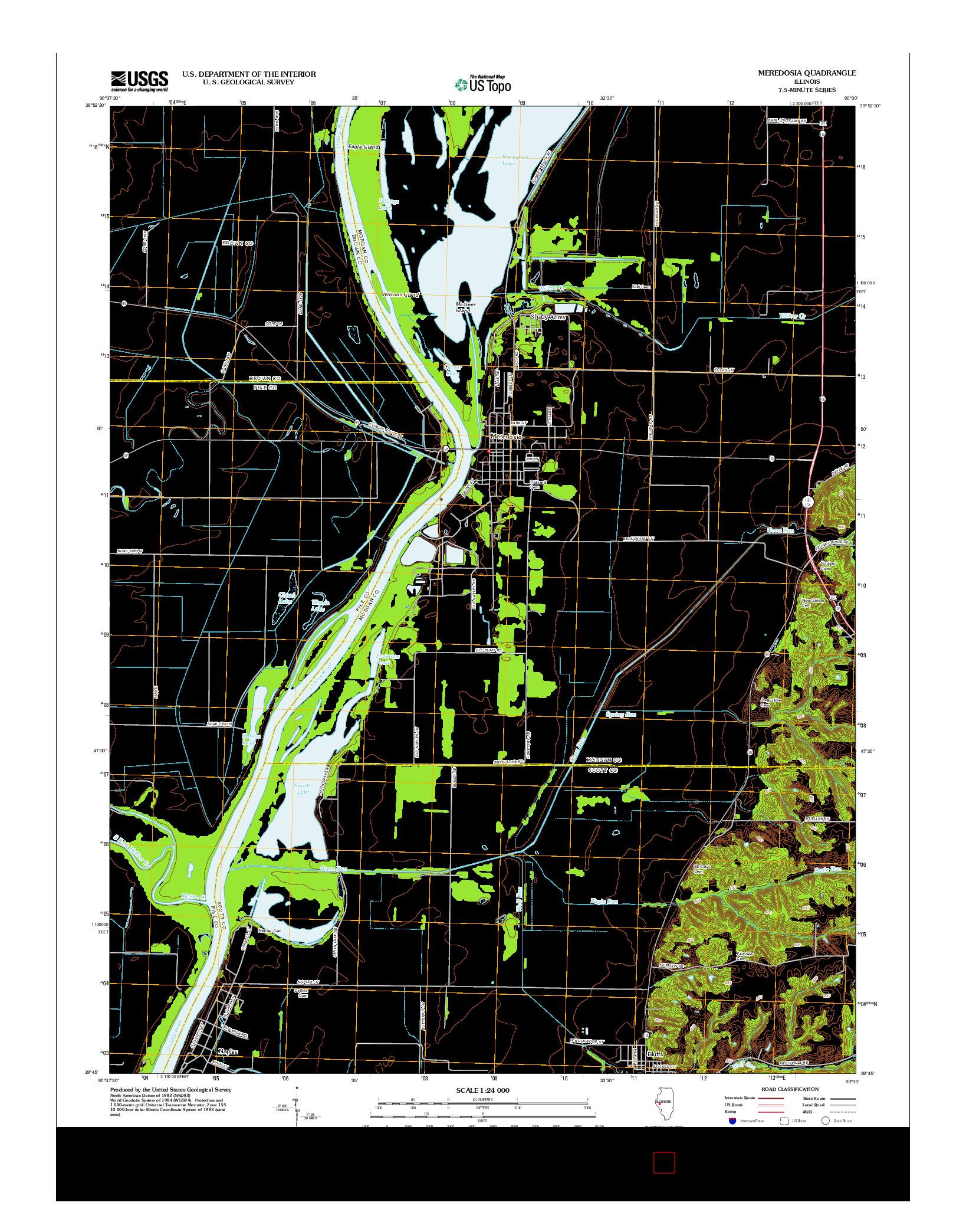 USGS US TOPO 7.5-MINUTE MAP FOR MEREDOSIA, IL 2012