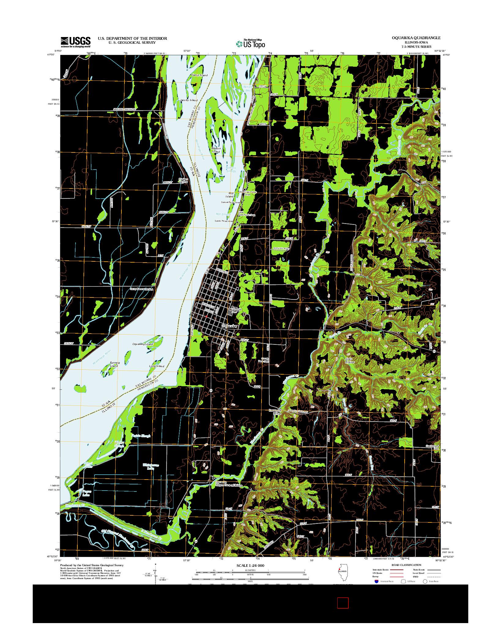 USGS US TOPO 7.5-MINUTE MAP FOR OQUAWKA, IL-IA 2012
