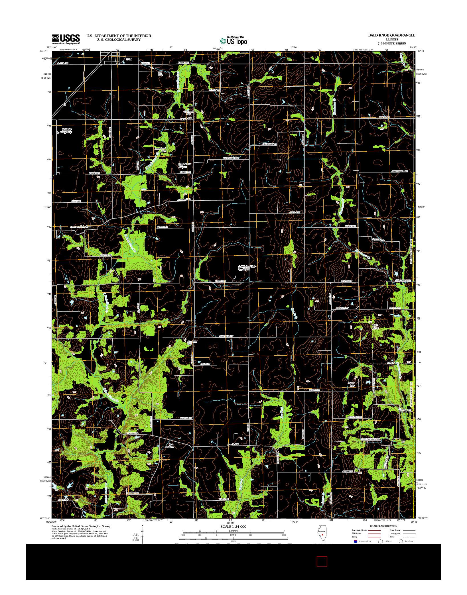 USGS US TOPO 7.5-MINUTE MAP FOR BALD KNOB, IL 2012
